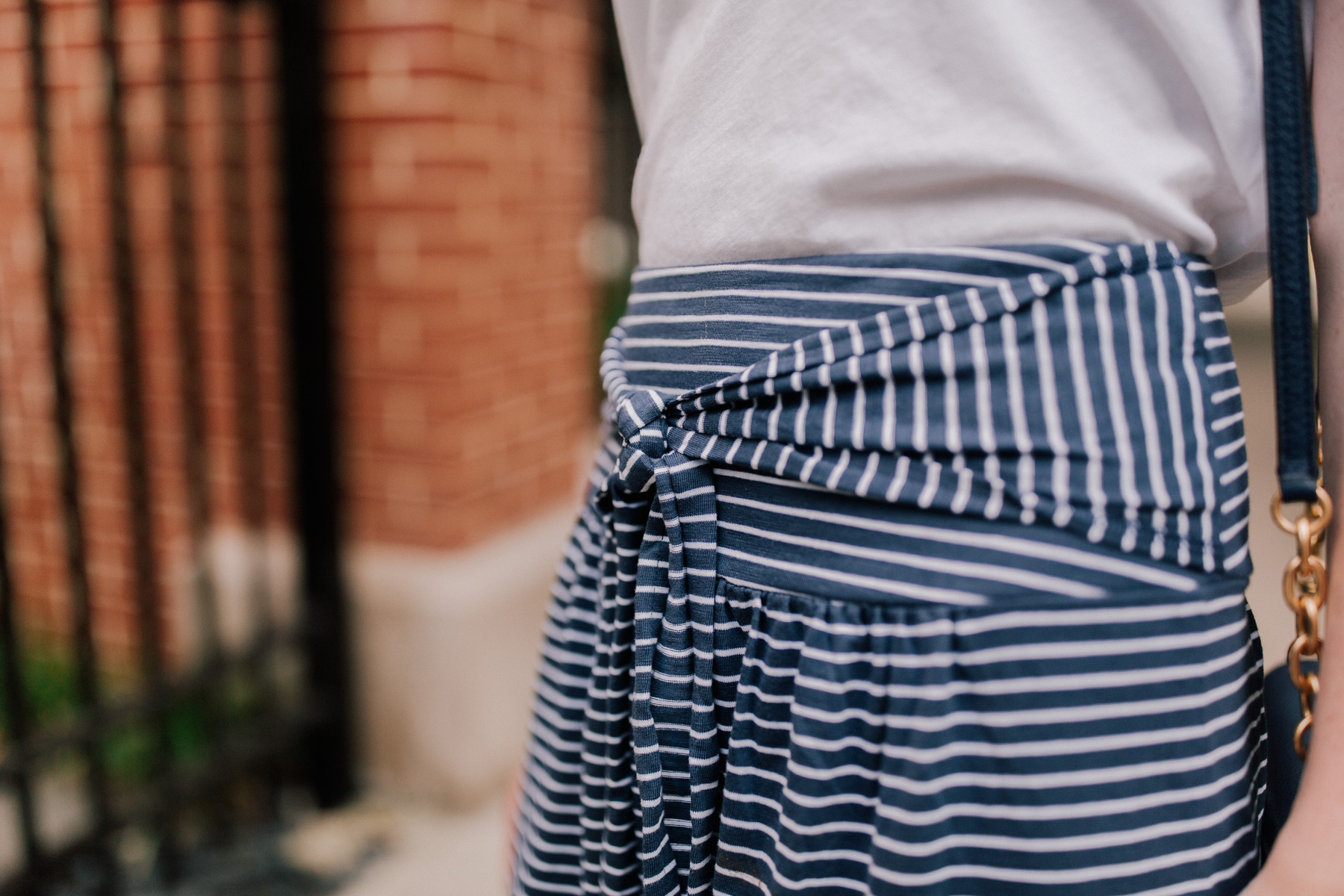 Navy Striped Jersey Maxi Skirt