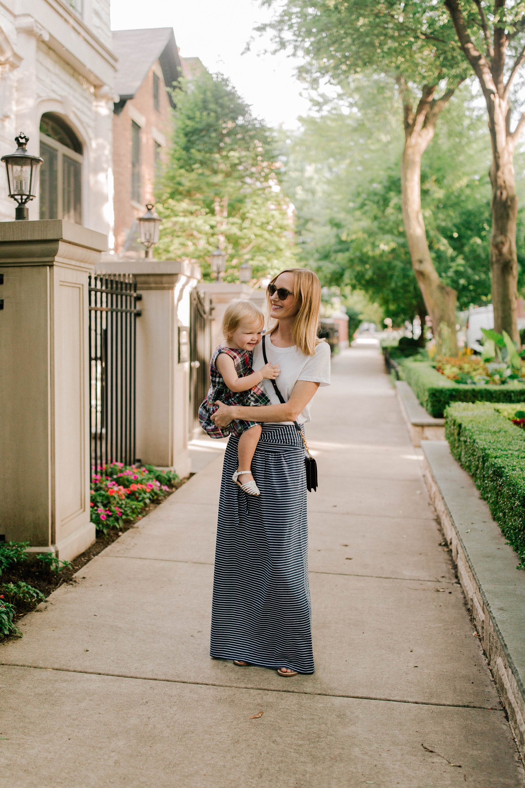 Nordstrom sale outfits - Navy Striped Jersey Maxi Skirt / White Tee / Jack Rogers (Still on major sale!) /Tory Burch Navy Bag