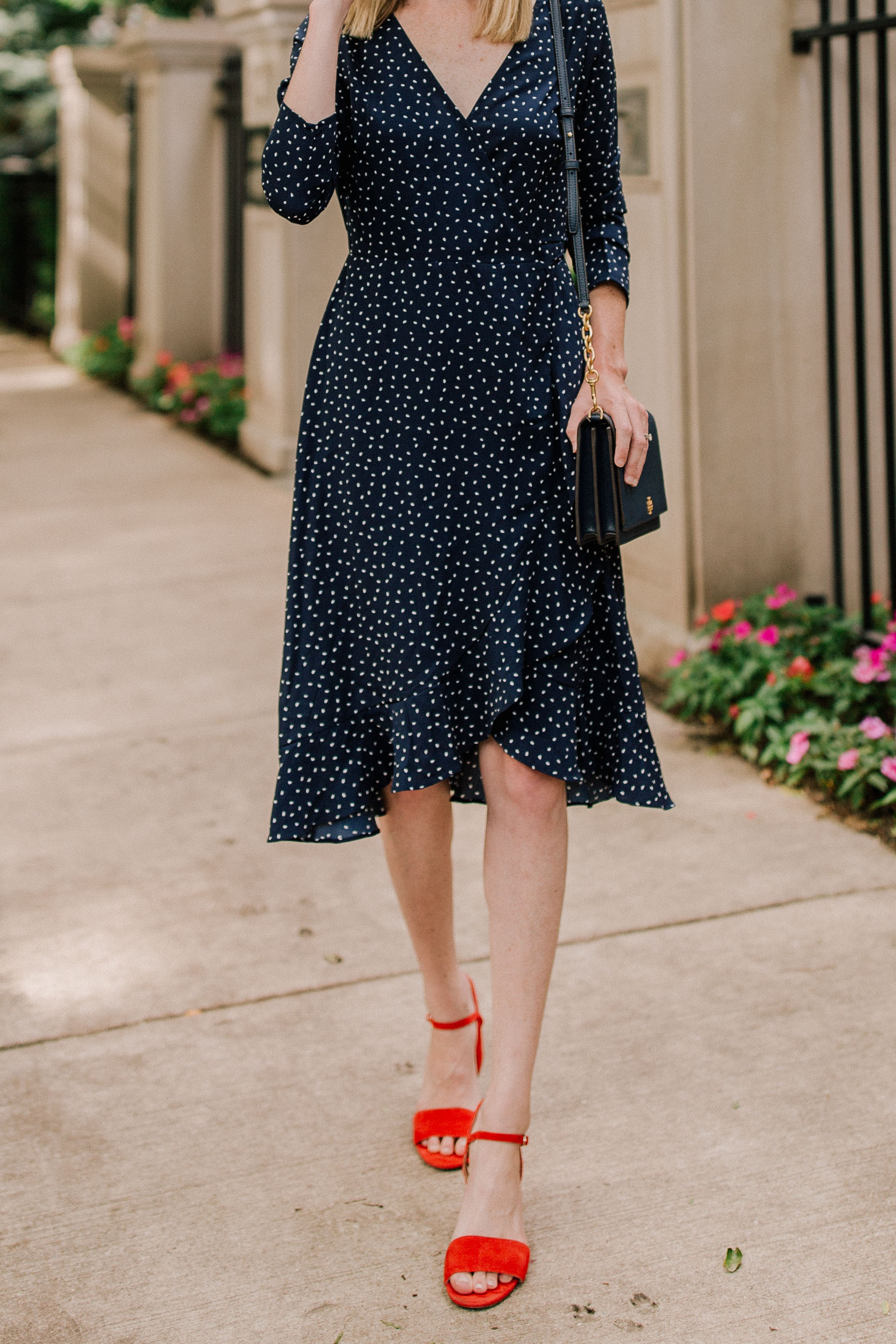 Nordstrom: Navy Polka Dot Dress / Tory Burch Navy Bag / Red Strappy Sandals(You can also find them at J.Crew.) - Kelly in the City