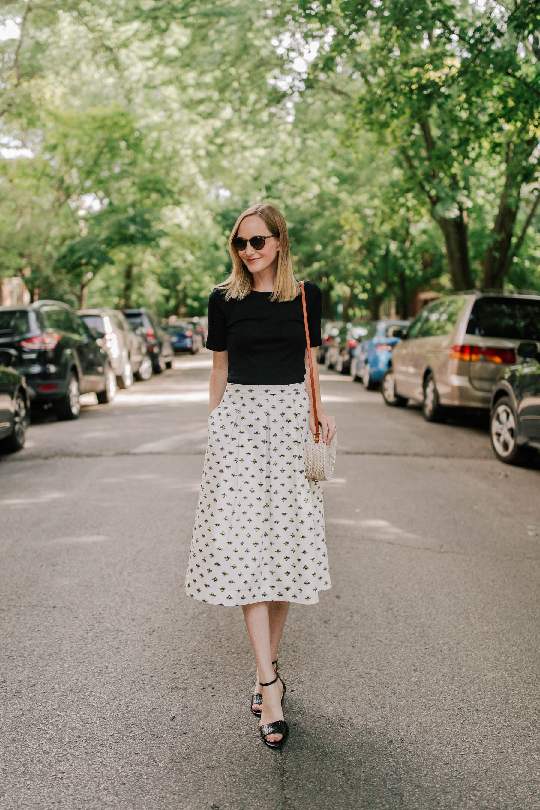 Bee Skirt(Also available at Boden.) / Perfect Tee / Current Favorite Black Sale Sandals / woven bag - Kelly in the City