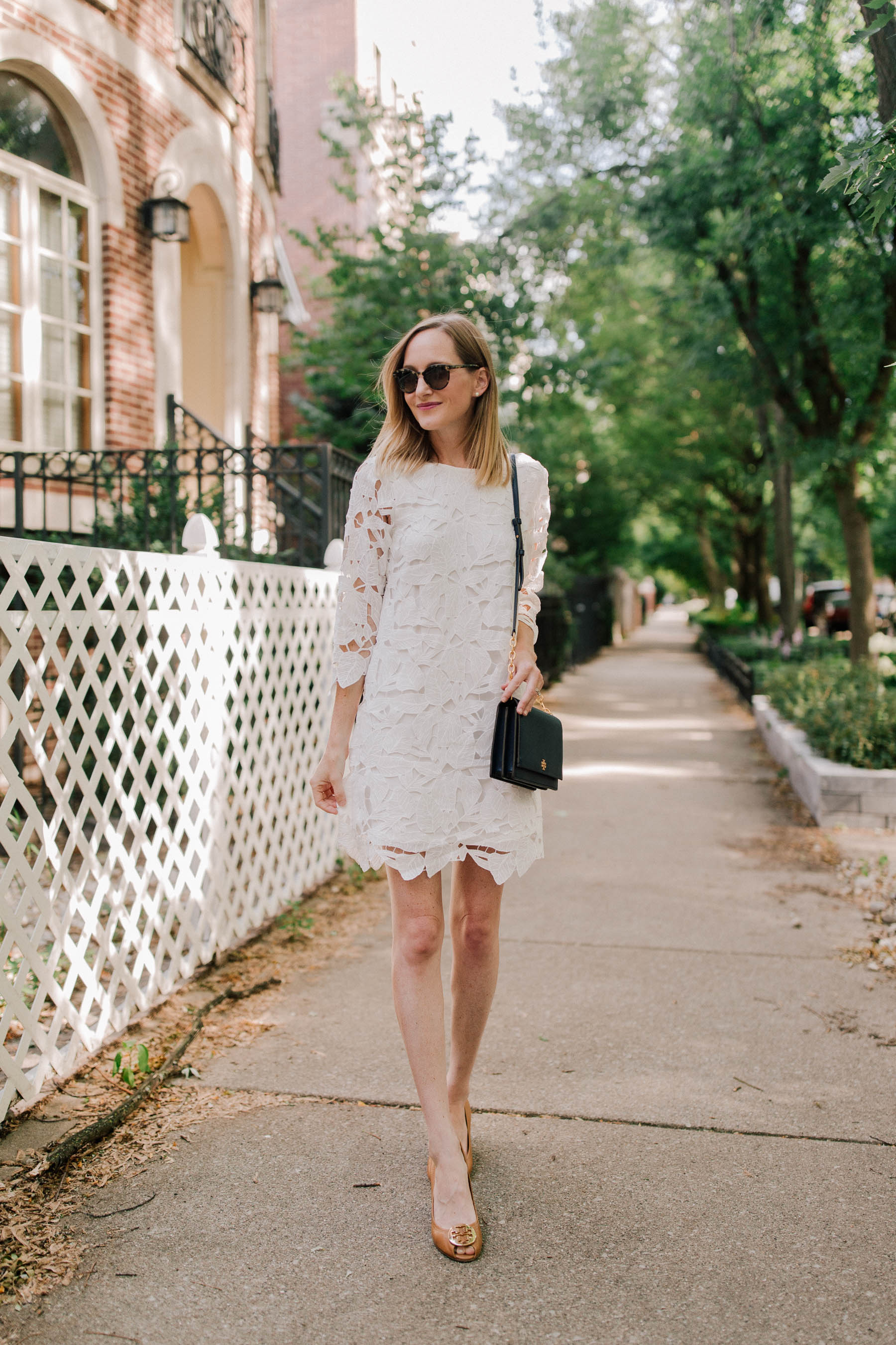 144abb3fb1671c White Lace Dress / Tory Burch Navy Bag / Tory Burch Wedges - Nordstrom -  Kelly