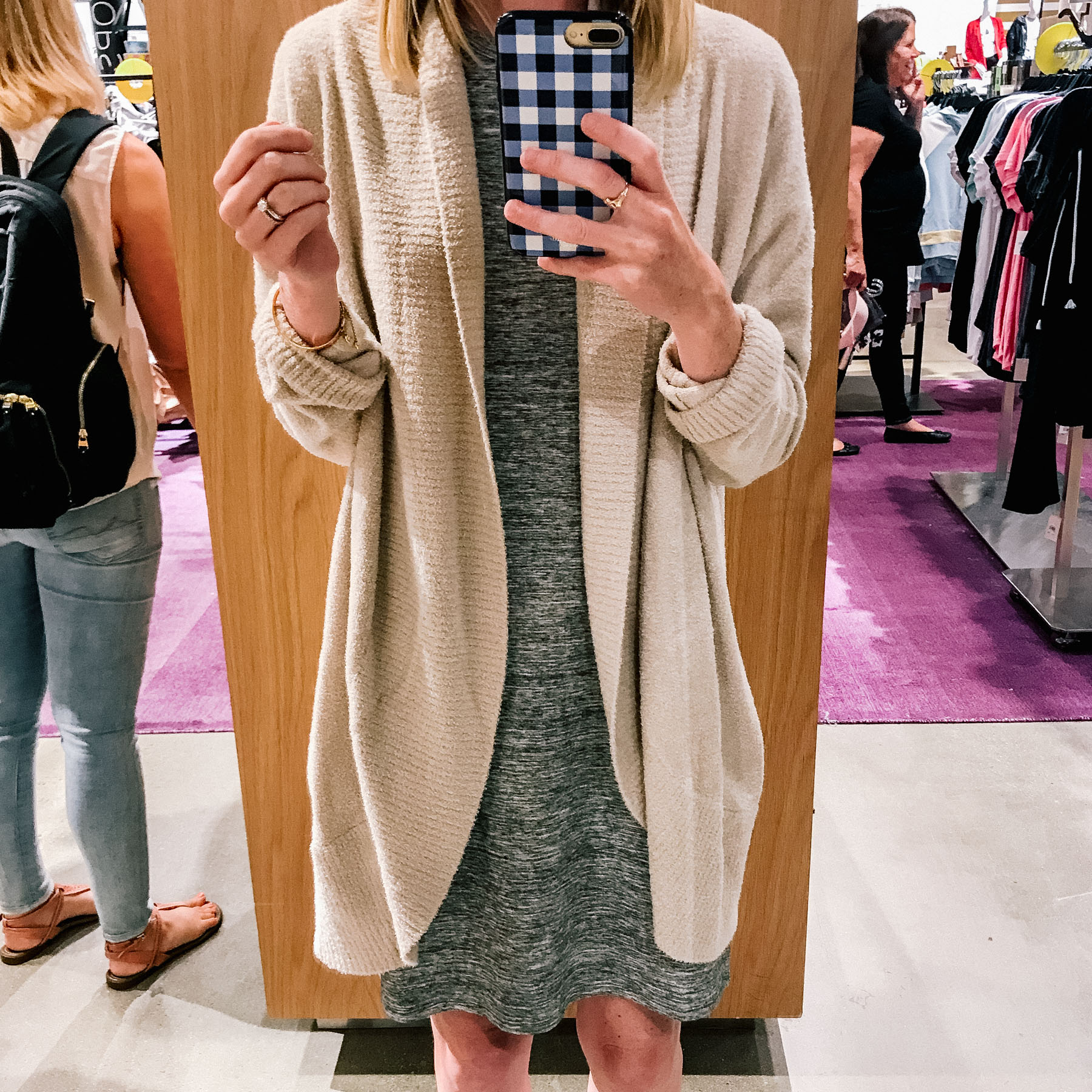 Barefoot Dreams CozyChic Cardigan / Amazon Dress  / Jack Rogers / Gingham Phone Case
