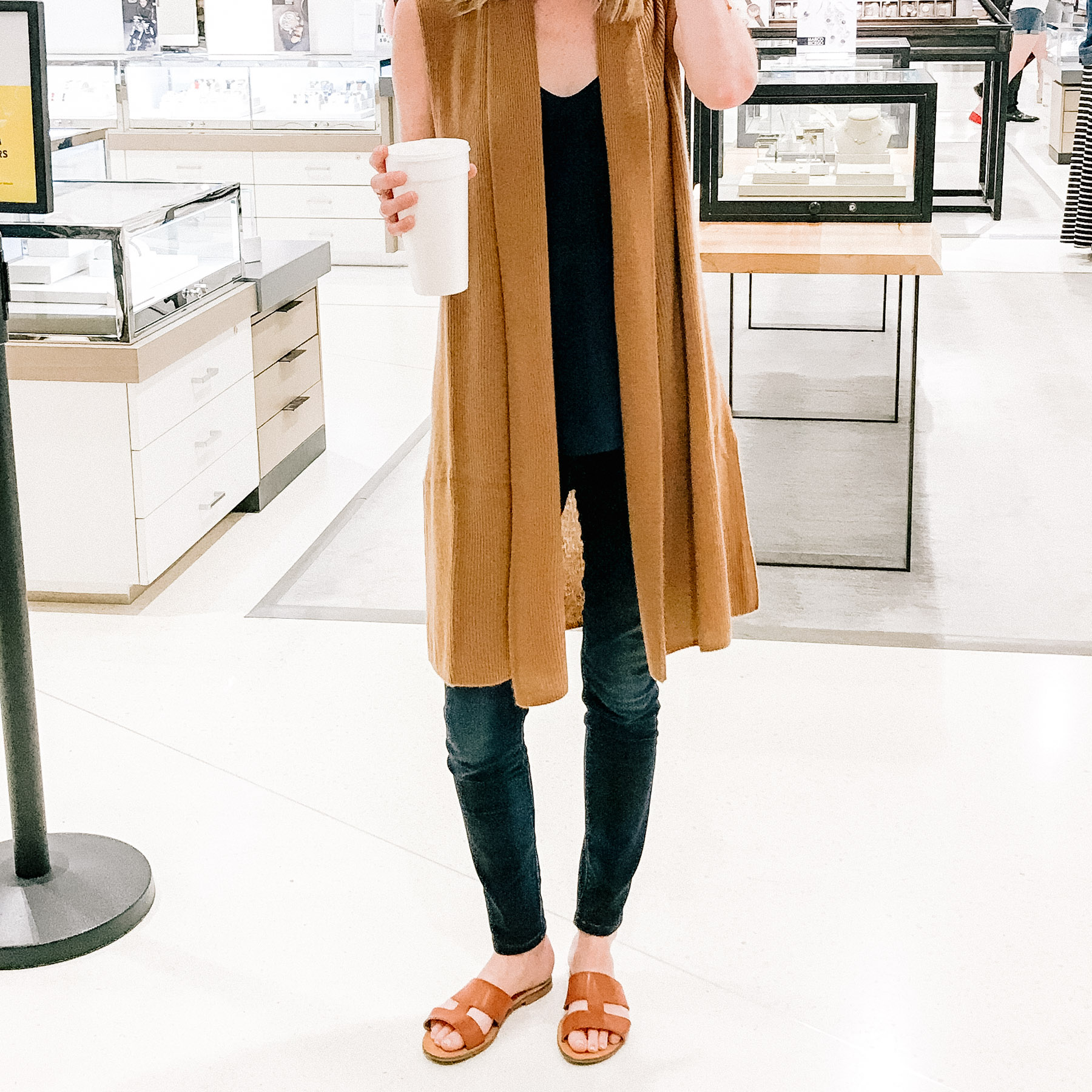 Cashmere Vest (Under $100!) / Hudson Skinny Jeans (But these Rag & Bone Skinny Jeans are VERY similar and part of the sale!) / J.Crew Camisole / Everlane Sandals (Here are the best brown sandals that are part of the sale, though!) / Tuckernuck Earrings