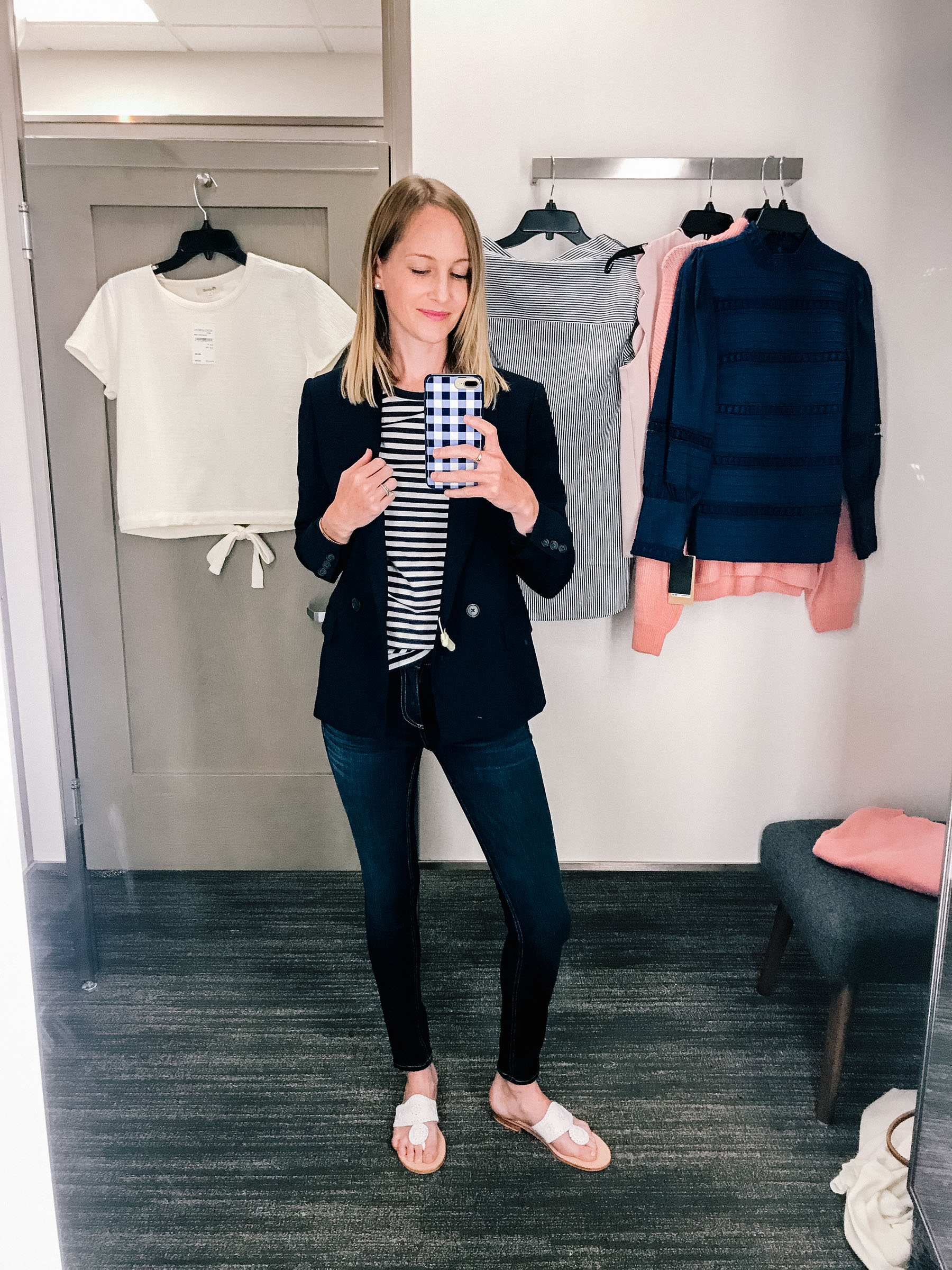 J.Crew Navy Blazer (I also recommend the Olivia Moon one! It's very cozy, since it's a knit material.) / 1901 Ringer Tee / Rag & Bone Skinny Jeans/ Monica Vinader Friendship Bracelet / Gingham Phone Case / Jack Rogers