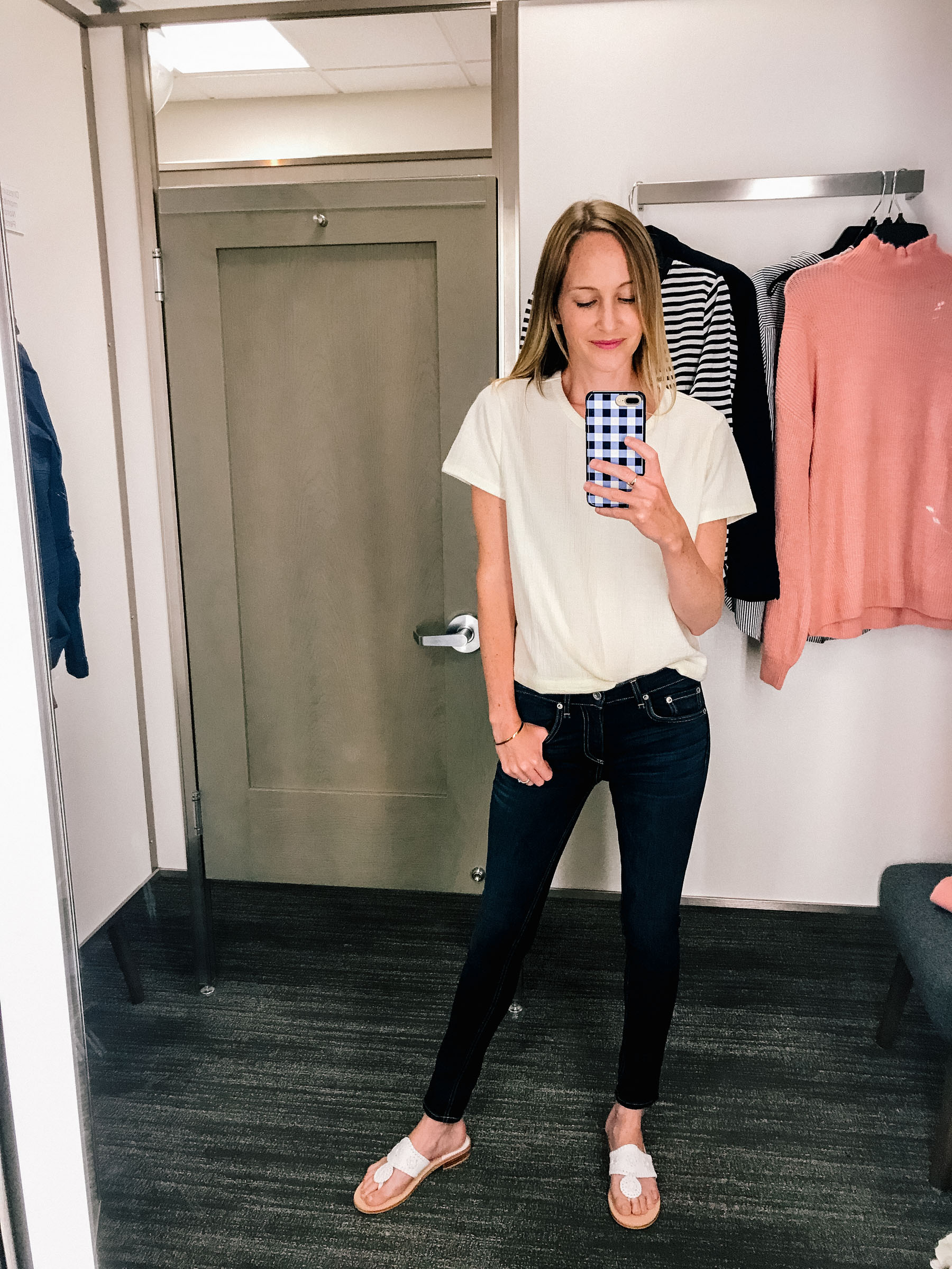 Madewell Top (Under $32!) / Rag & Bone Skinny Jeans/ Monica Vinader Friendship Bracelet / Gingham Phone Case / Jack Rogers