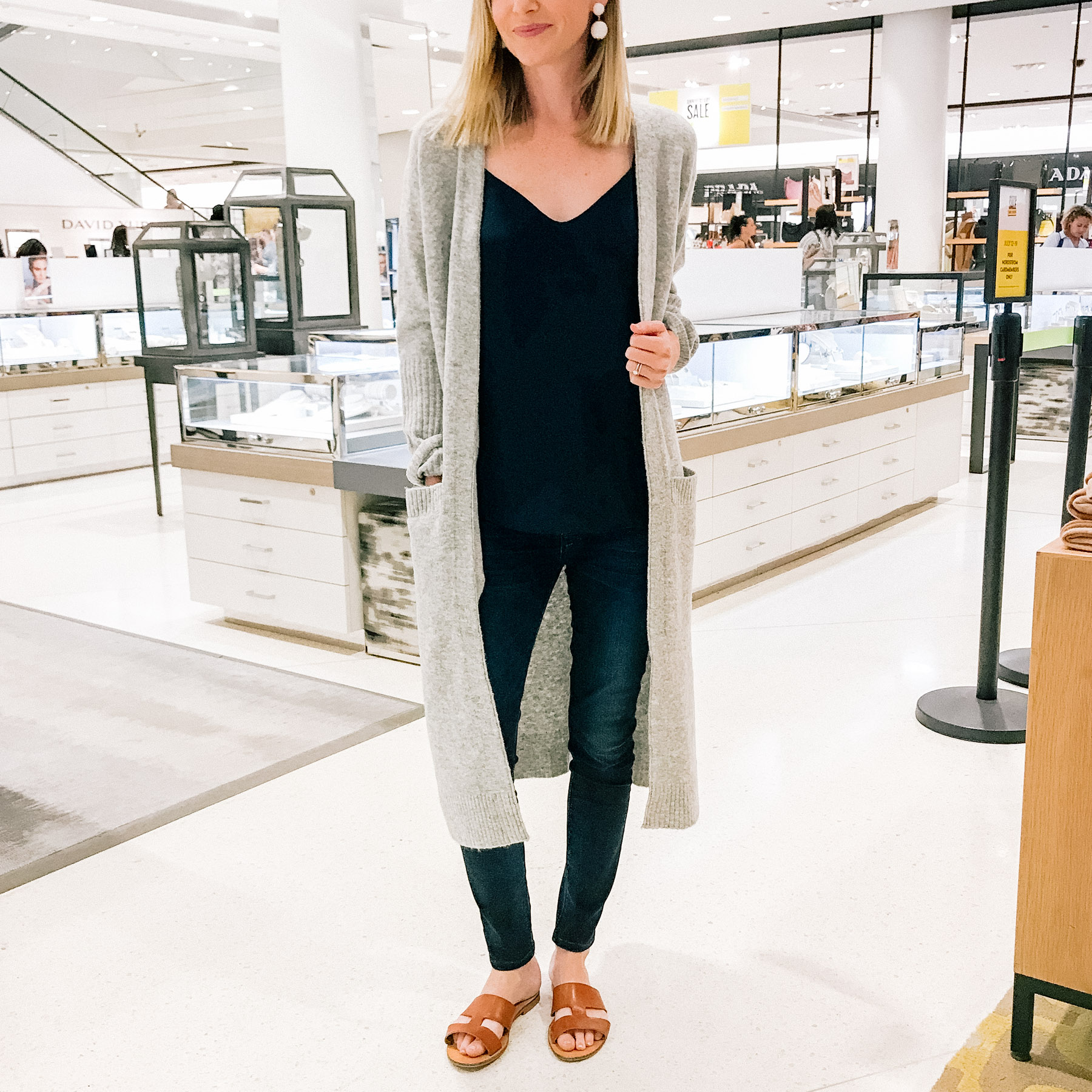 One-Size-Fits-All Duster Cardigan (Only $65.90!) / Hudson Skinny Jeans (But these Rag & Bone Skinny Jeans are VERY similar and part of the sale!) / J.Crew Camisole / Everlane Sandals (Here are the best brown sandals that are part of the sale, though!) / Tuckernuck Earrings