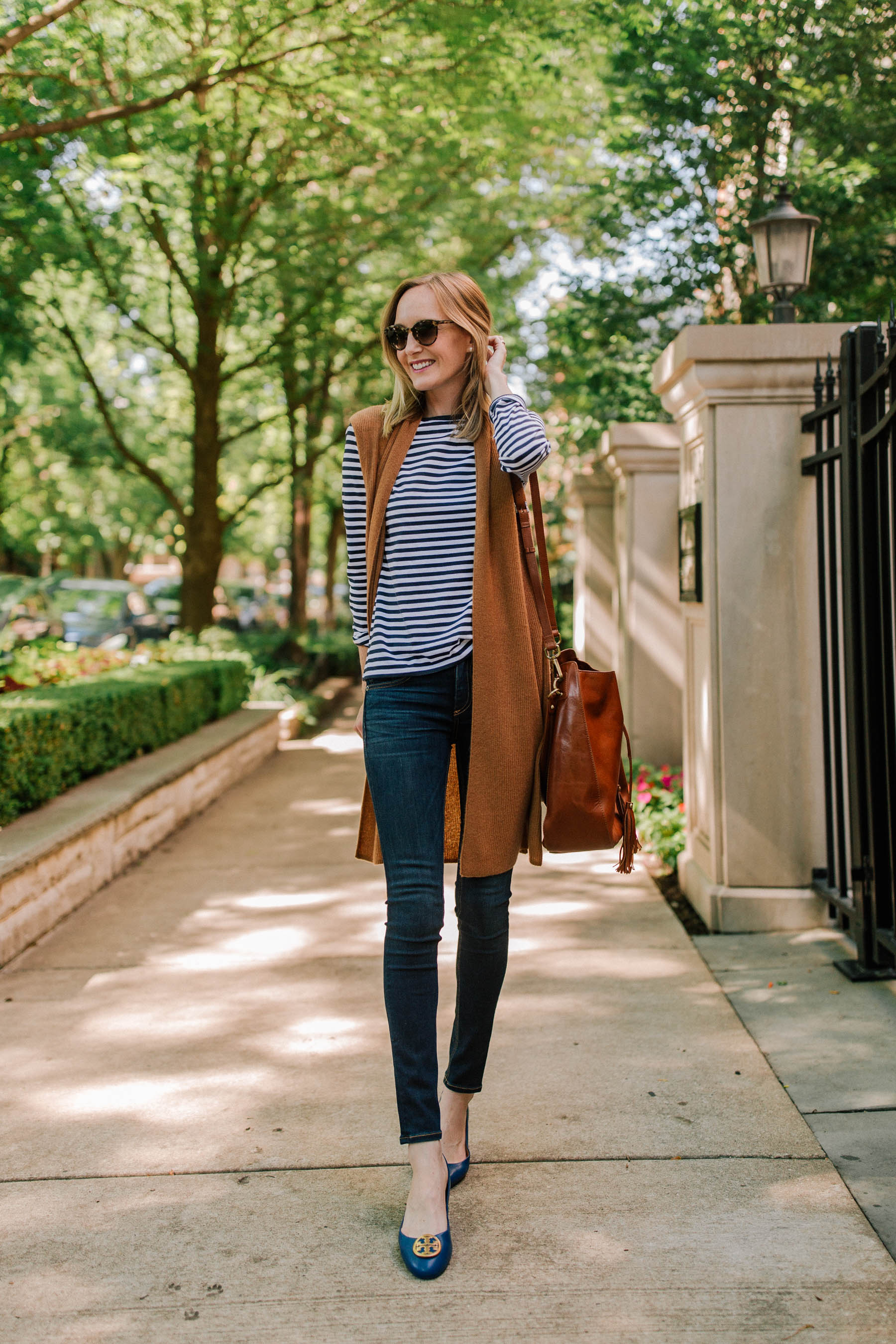 Halogen Ribbed Cashmere Vest / 1901 Striped Tee / Tory Burch Benton Ballet Flat / Bucket Bag