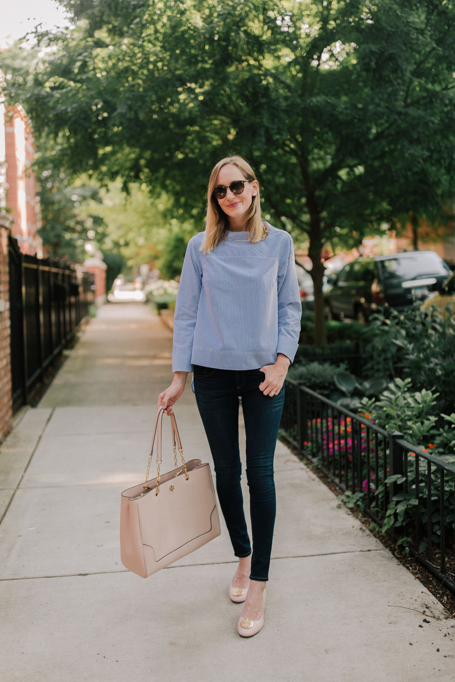 Tory Burch Benton Pumpv/ J.Crew Top (In solid here. J.Crew also carries it.) / Tory Burch Marsden Tote