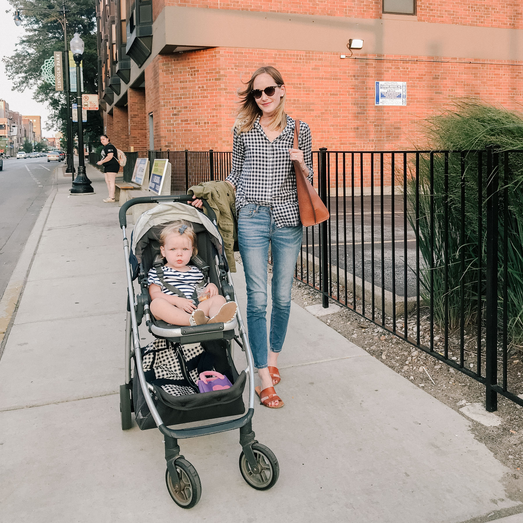 Gingham Shirt / J.Crew Factory Jeans / Everlane Sandals  / Faux Leather Tote / UppaBaby Stroller