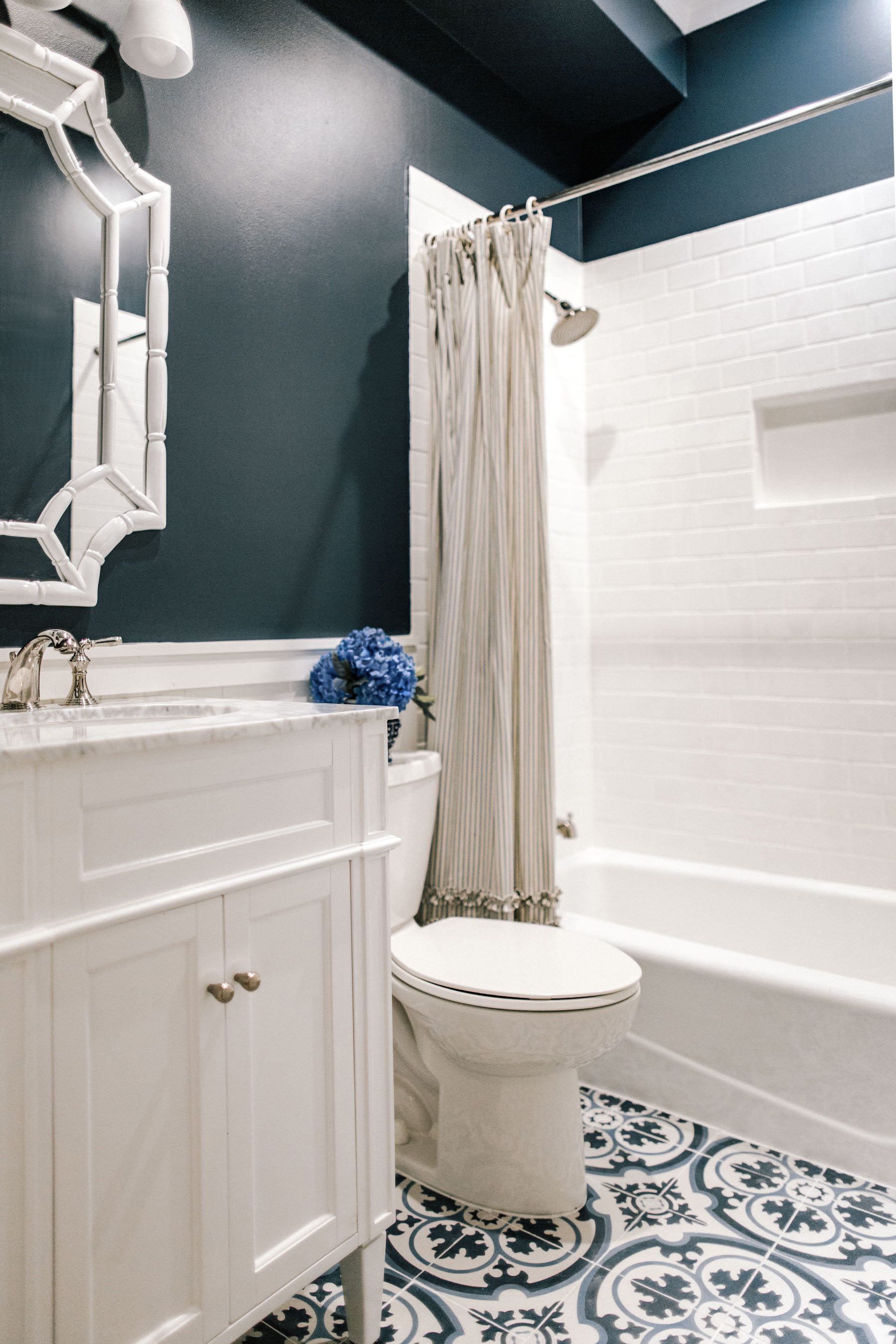 Navy Preppy Bathroom Renovation - Kelly in the City