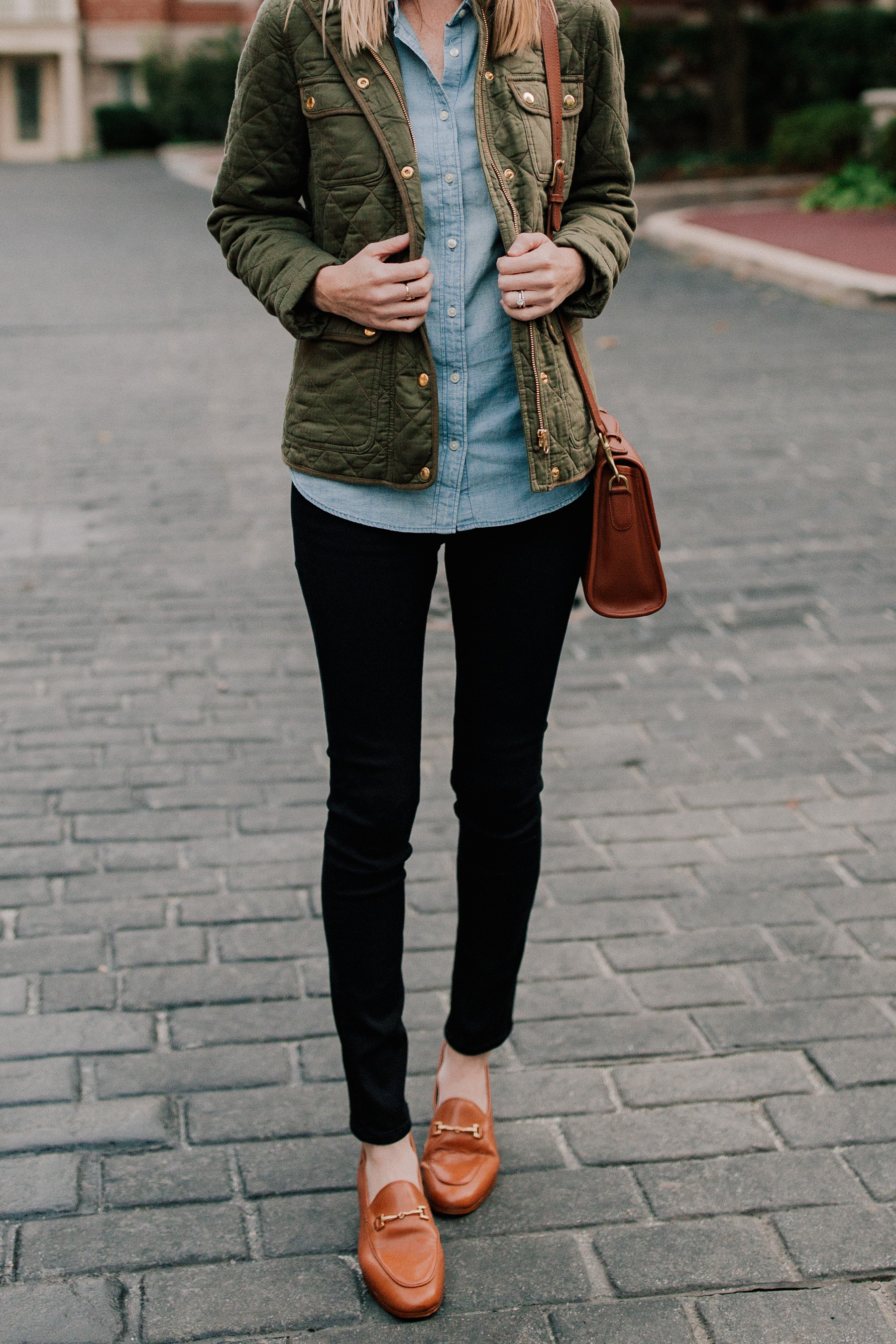 Chambray Shirt / Quilted Field Jacket / Brown Horsebit Loafers
