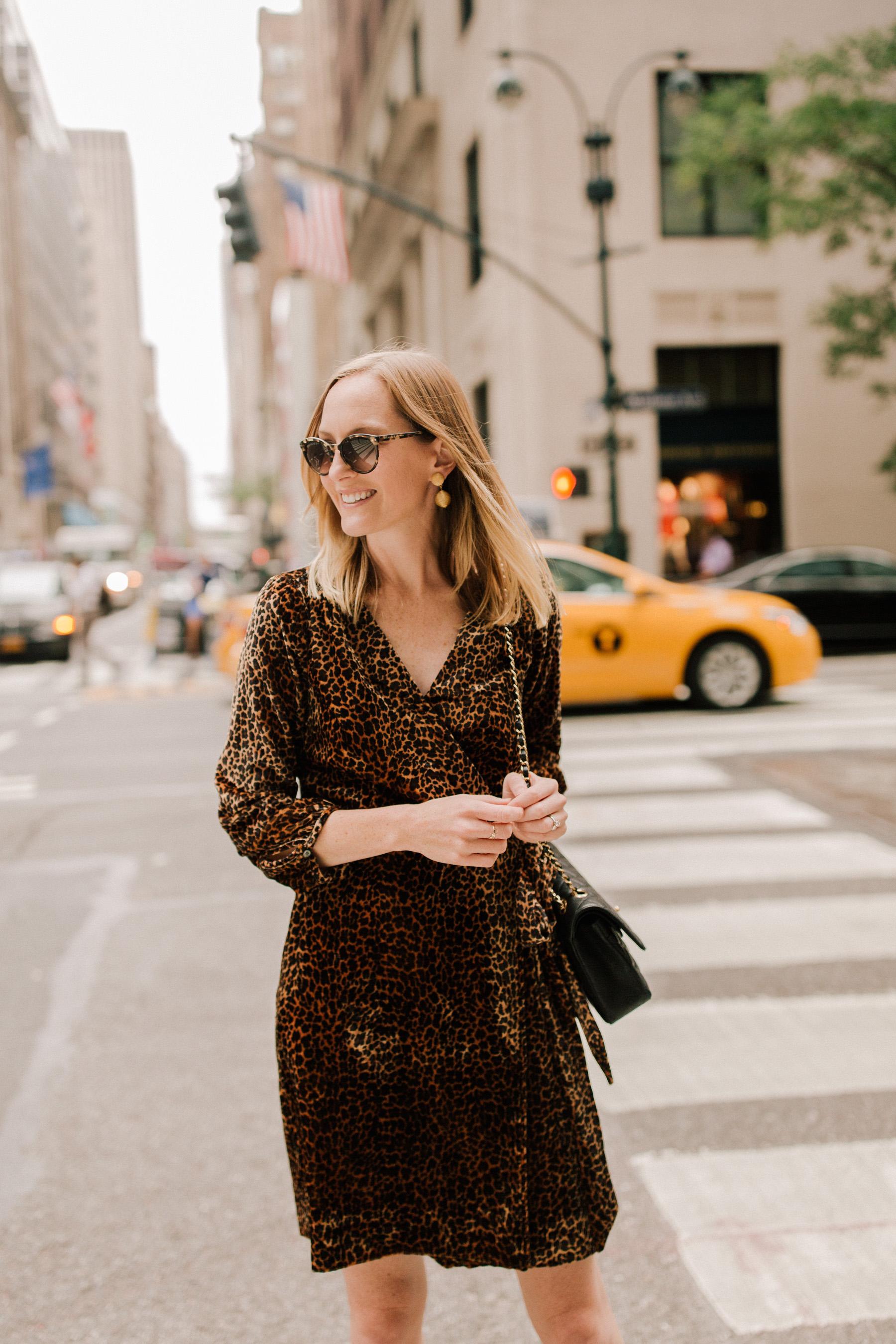 Velvet Leopard Wrap Dress