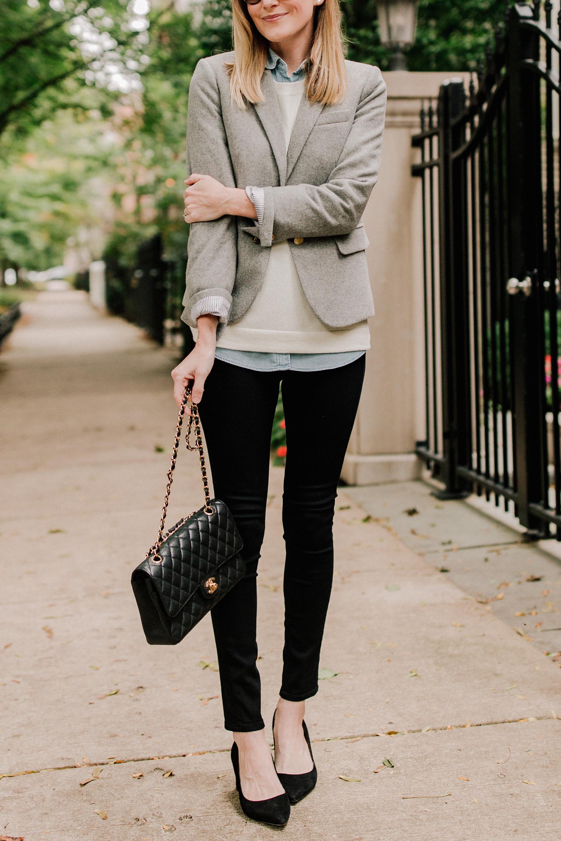 Chambray Shirt / Crewneck Sweater / Schoolboy Blazer/ Black Pumps