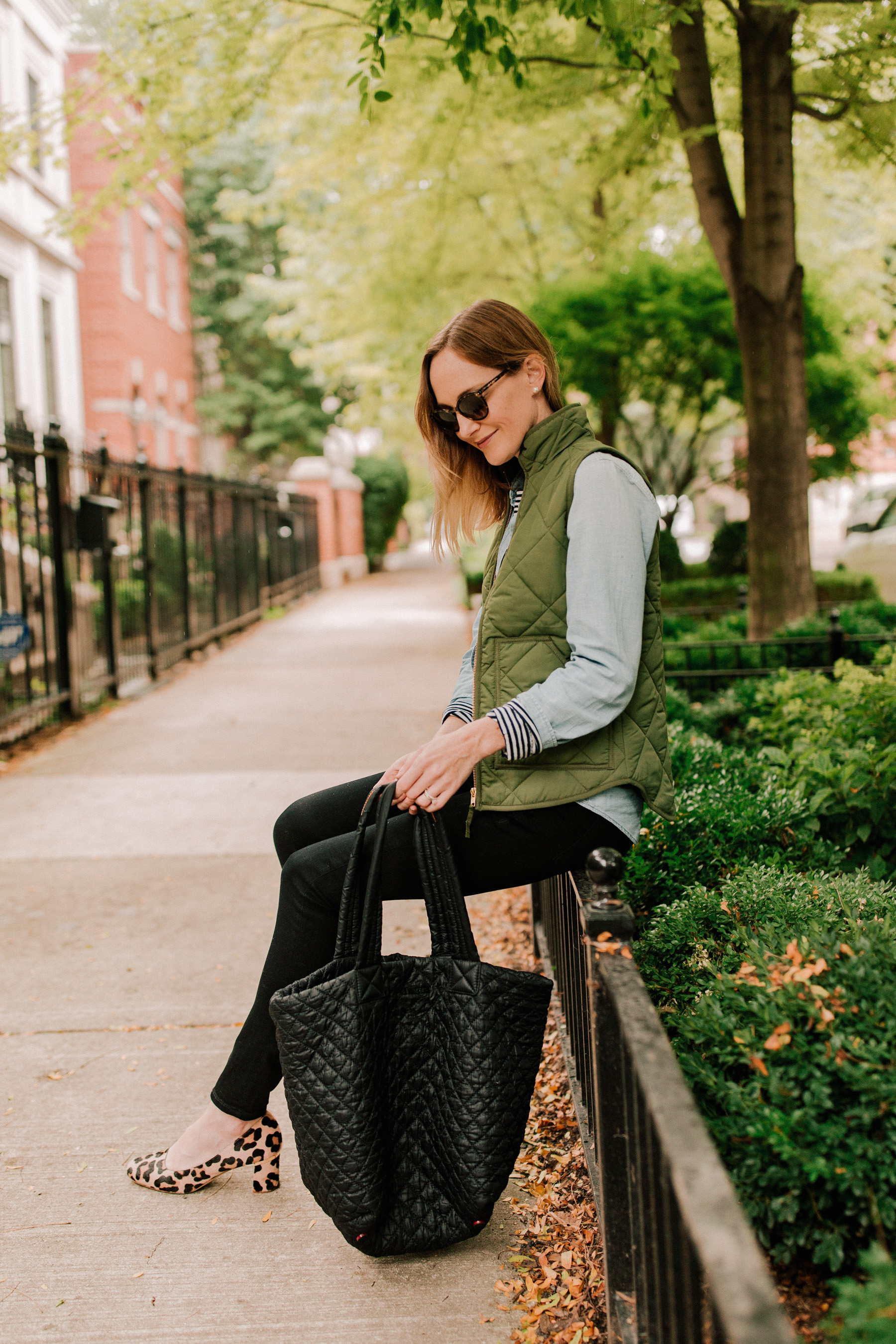 Chambray Shirt / Long-Sleeved Striped Tee/ Puffer Vest / Leopard Pumps / Black Quilted Bag
