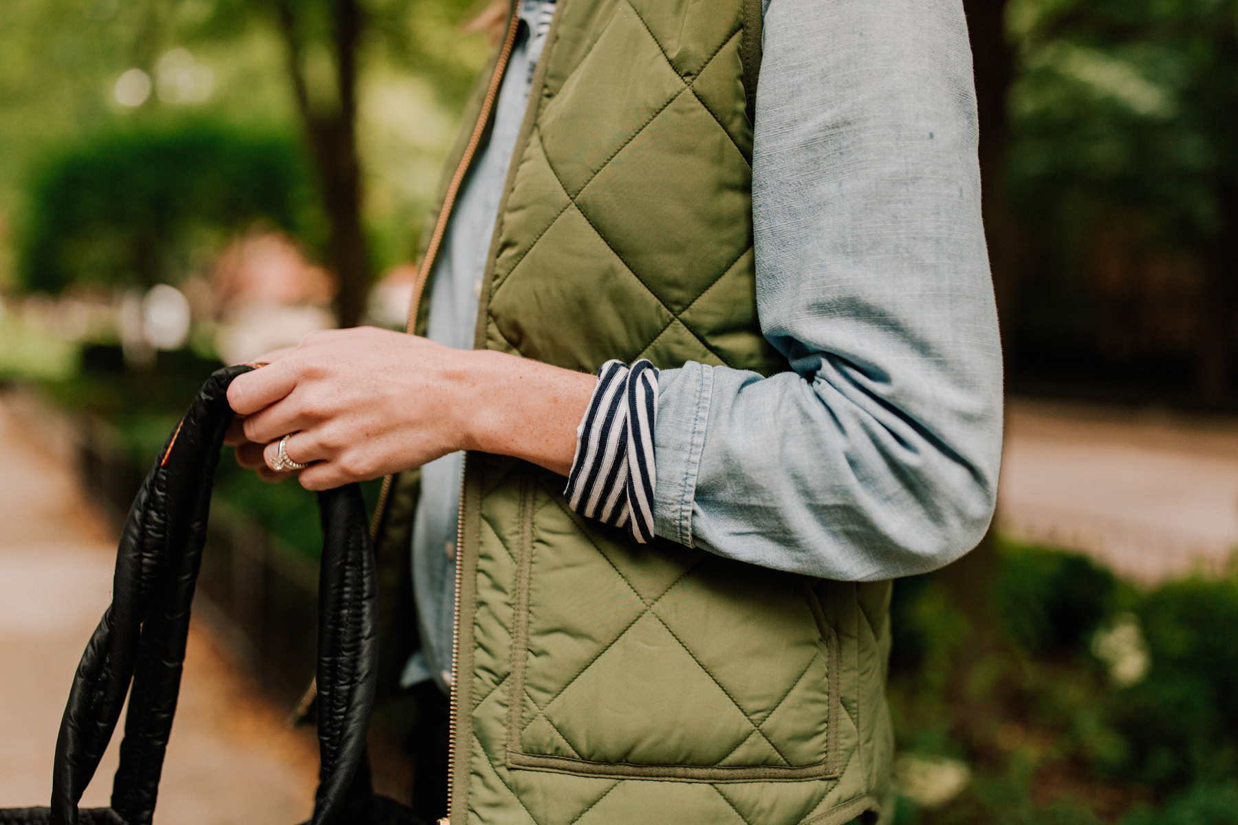 Chambray Shirt / Long-Sleeved Striped Tee/ Puffer Vest