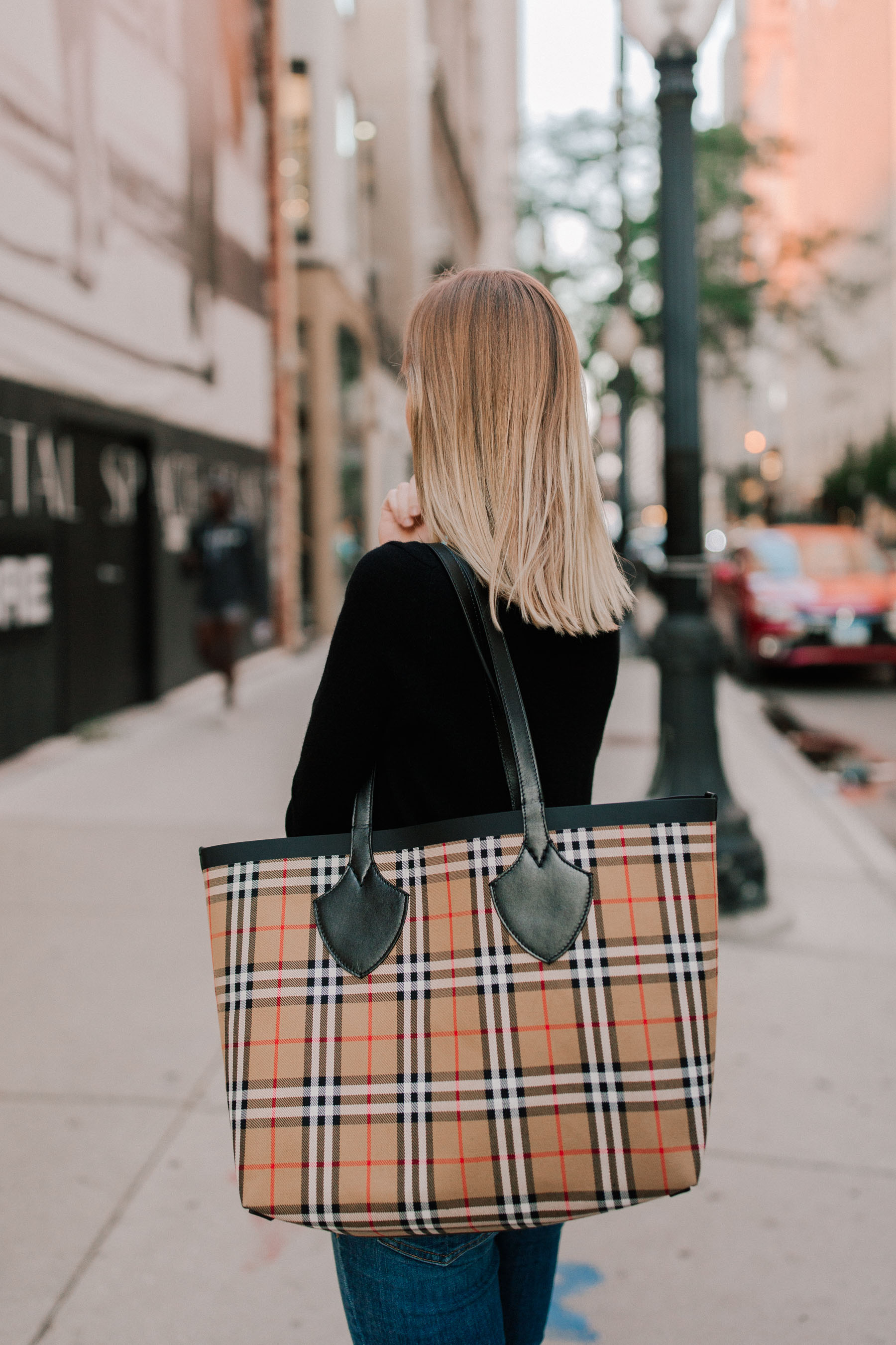 Burberry Tote / Black Cashmere Sweater - Kelly in the City
