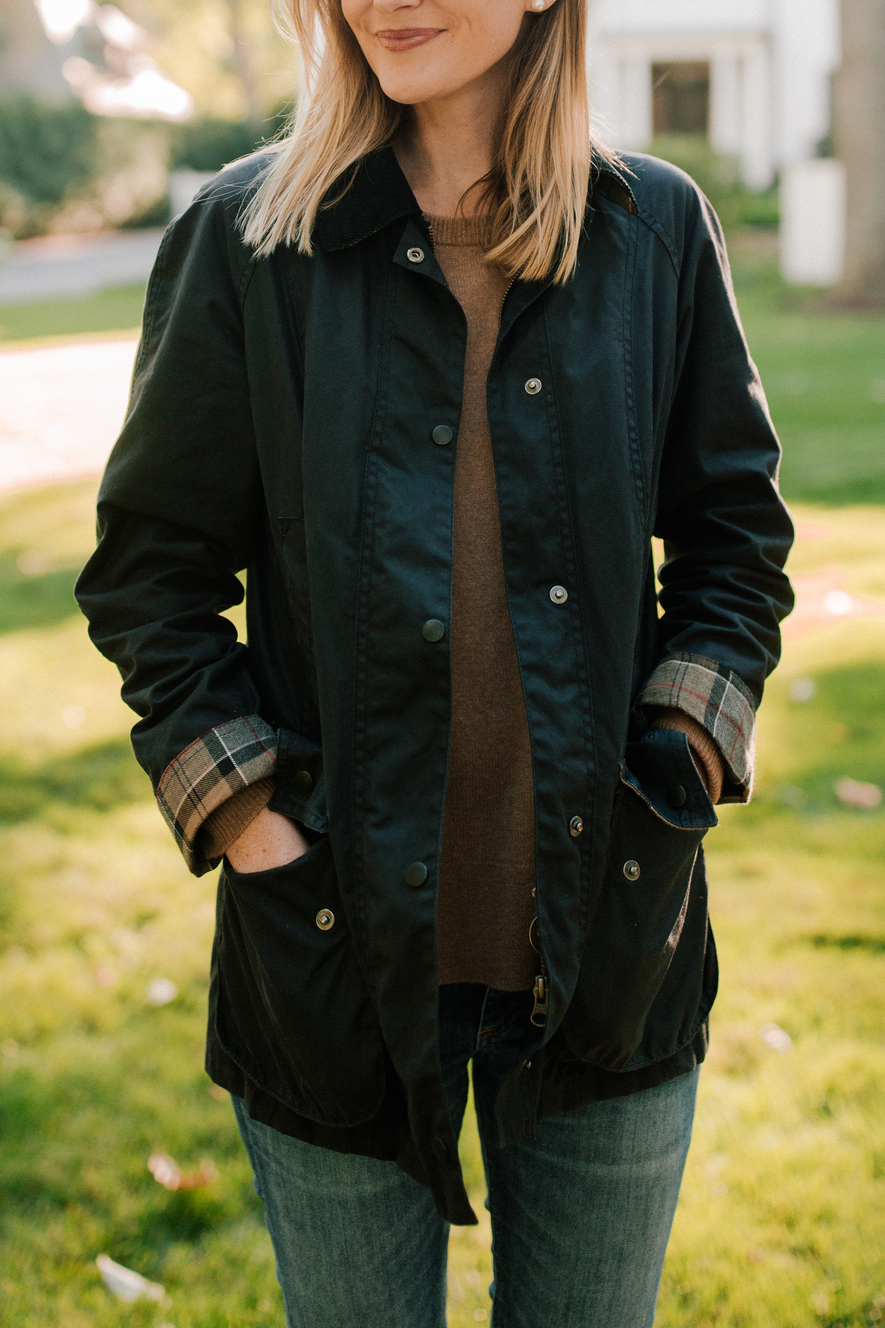 Barbour Jacket / Burberry Scarf  / Cashmere Sweate - Kelly in the City