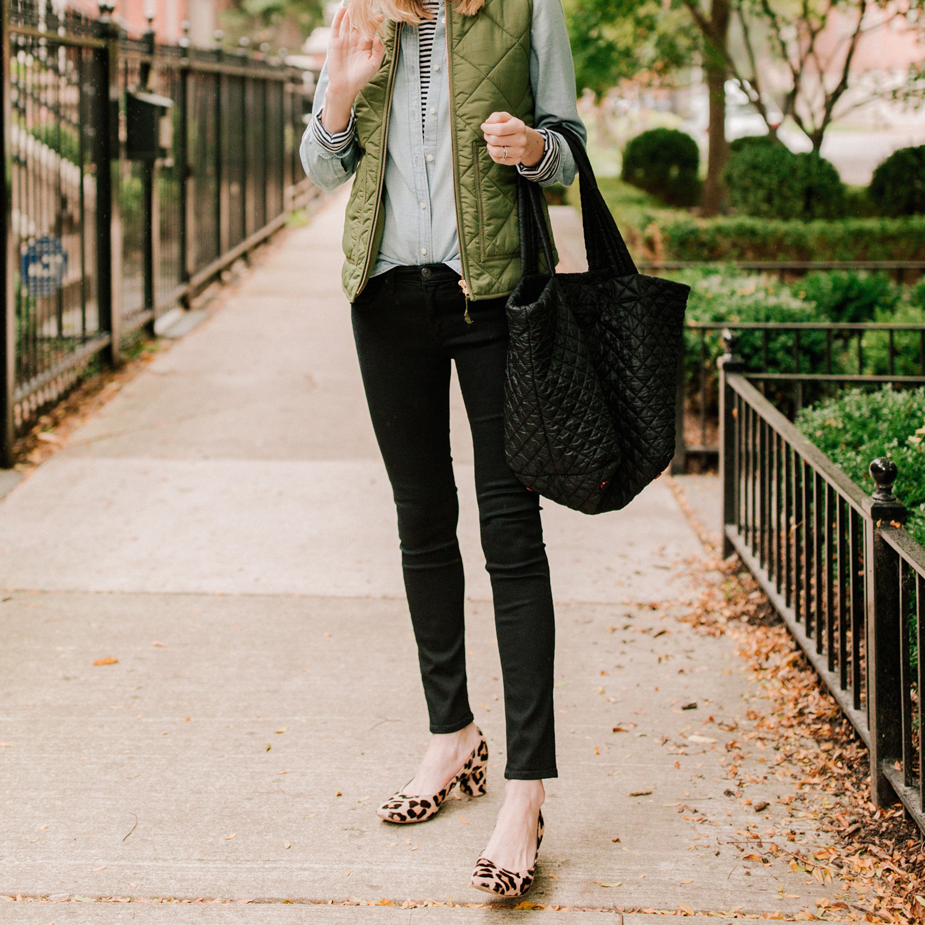 Chambray Shirt / Long-Sleeved Striped Tee / Puffer Vest / Leopard Pumps / Black Quilted Bag
