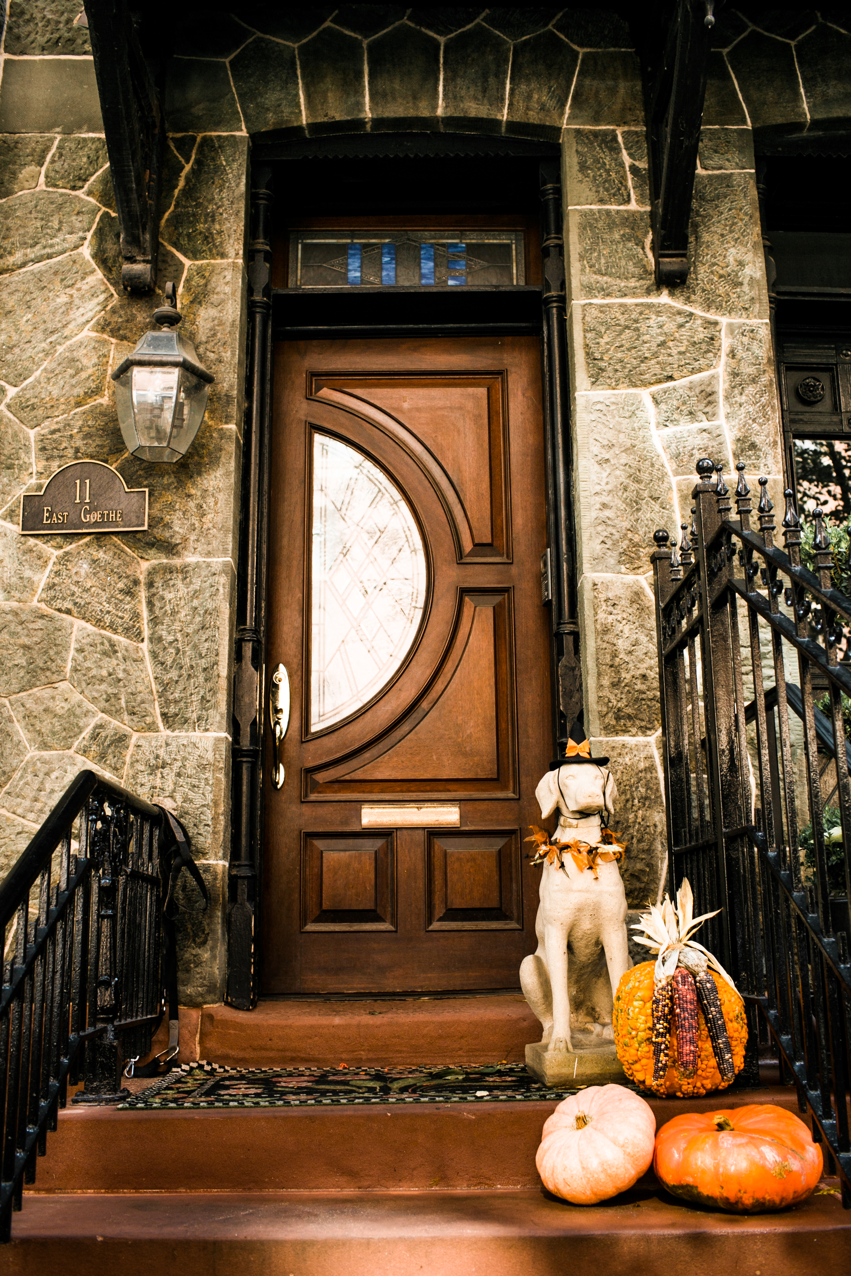 A sweet pup statue giving this front stoop a warm touch.