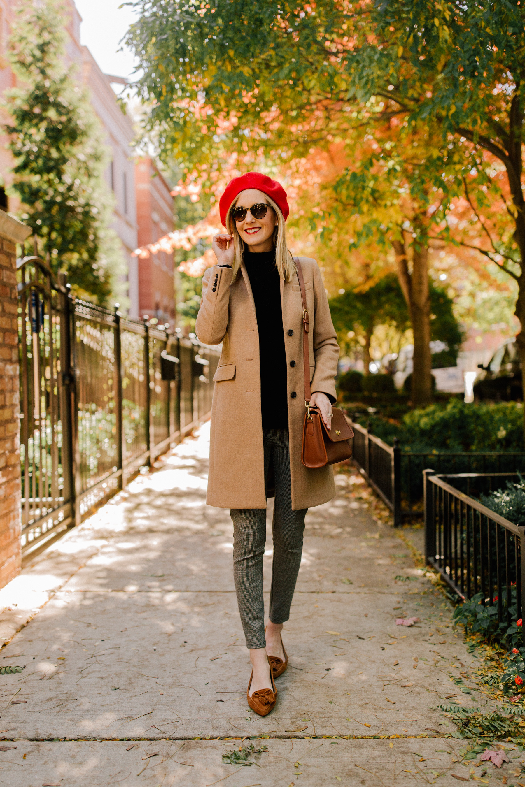 """1eb45d0e5445f Houndstooth Leggings   Beret   Softest Black Sweater   Coach """"Court"""" Bag    Tassel Flats (And aren t these the cutest !)"""