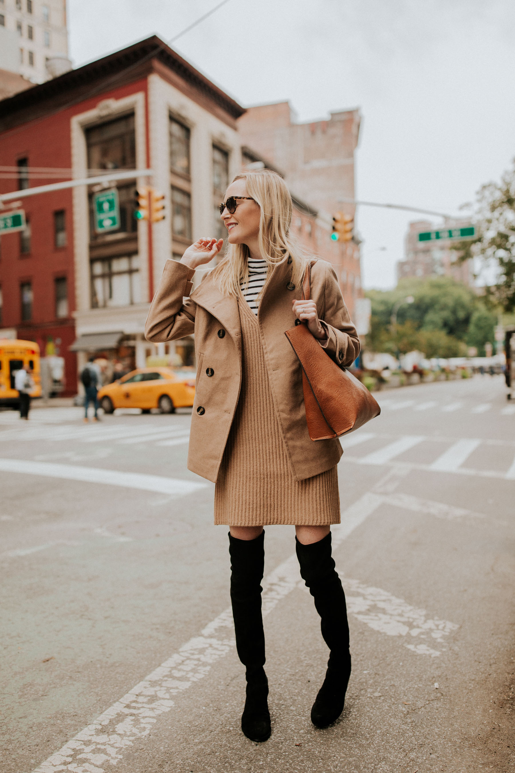 $38 Peacoat / Camel Sweater Dress / $49 Faux Leather Tote / Stuart Weitzman Boots