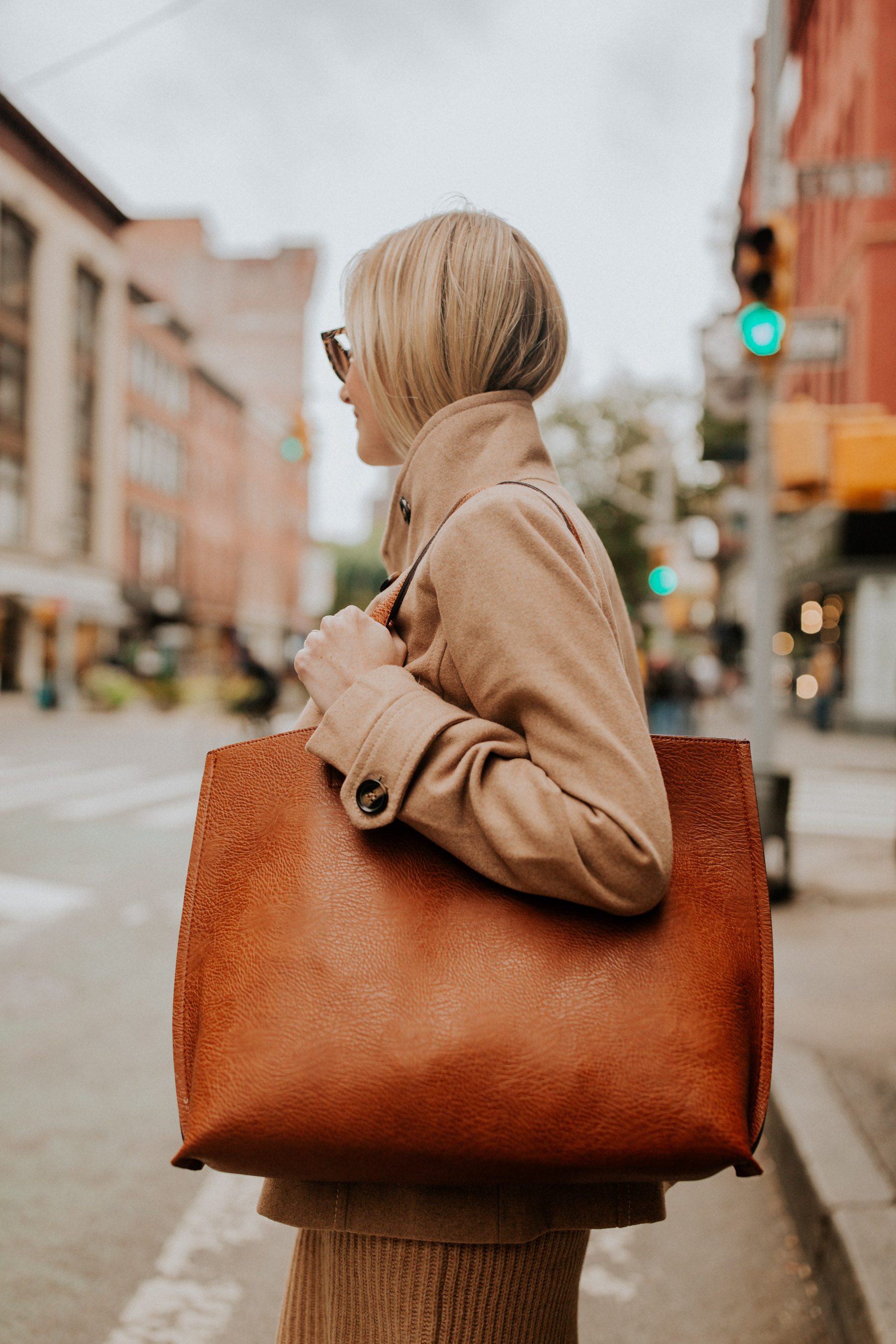 $38 Peacoat / Camel Sweater Dress / $49 Faux Leather Tote