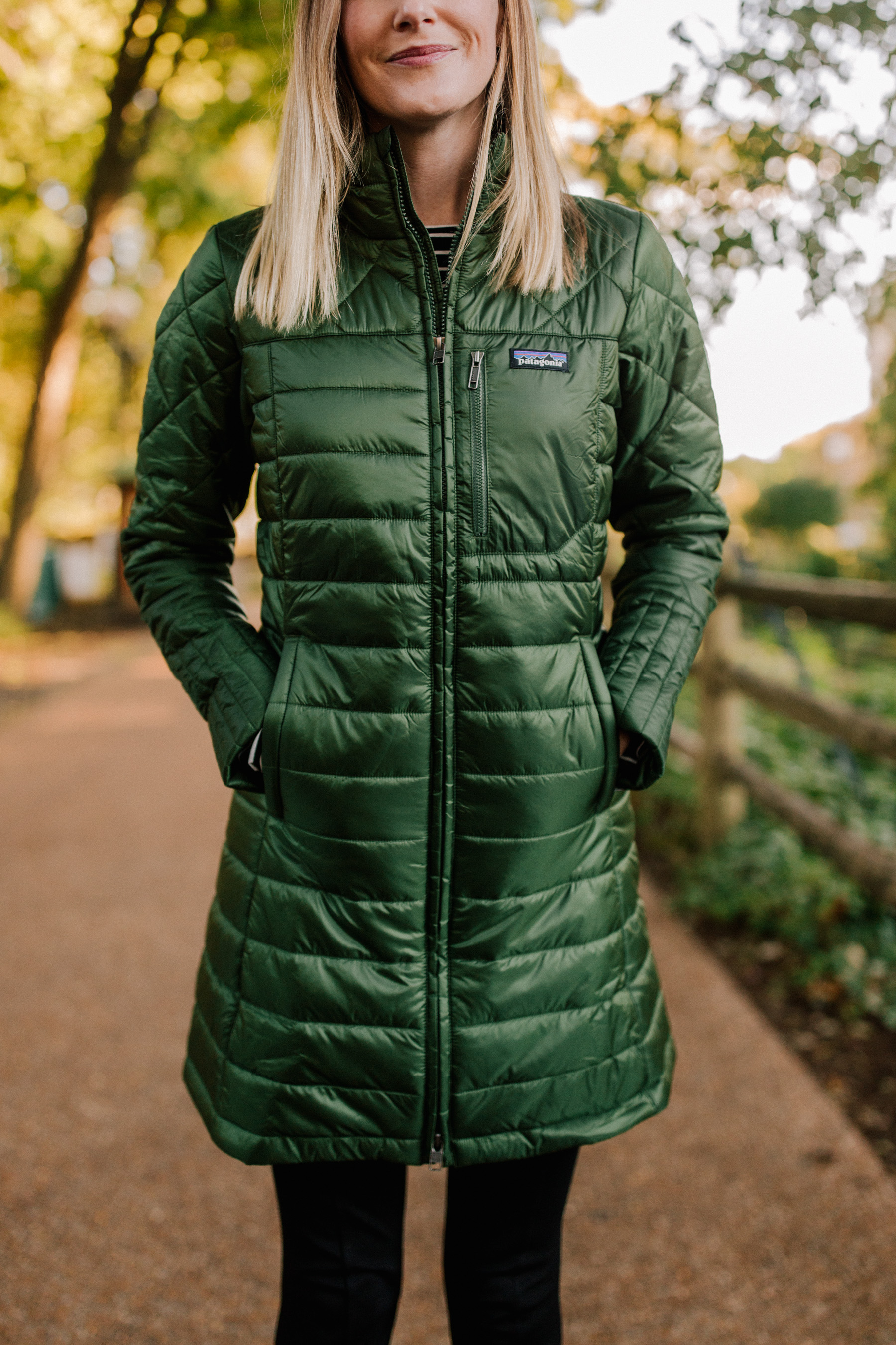 Kelly is wearing a 'Radalie' Water Repellent Parka PATAGONIA