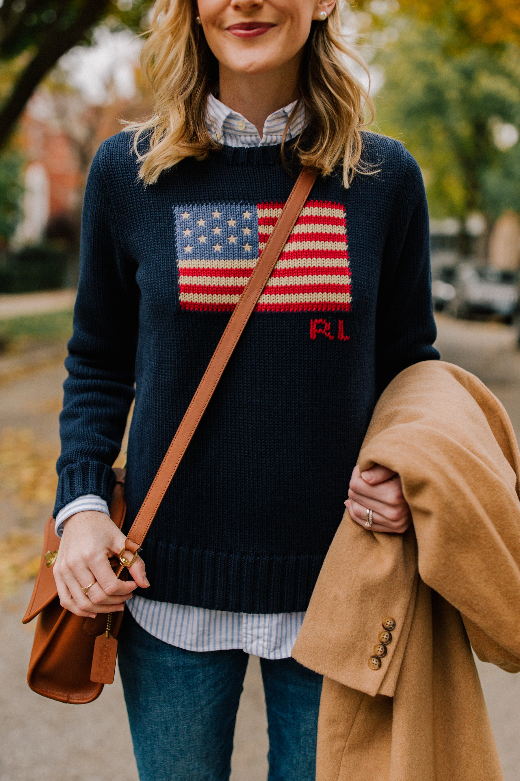 On Kelly: Ralph Lauren American Flag Sweater, Camel Coat, Striped Button Down