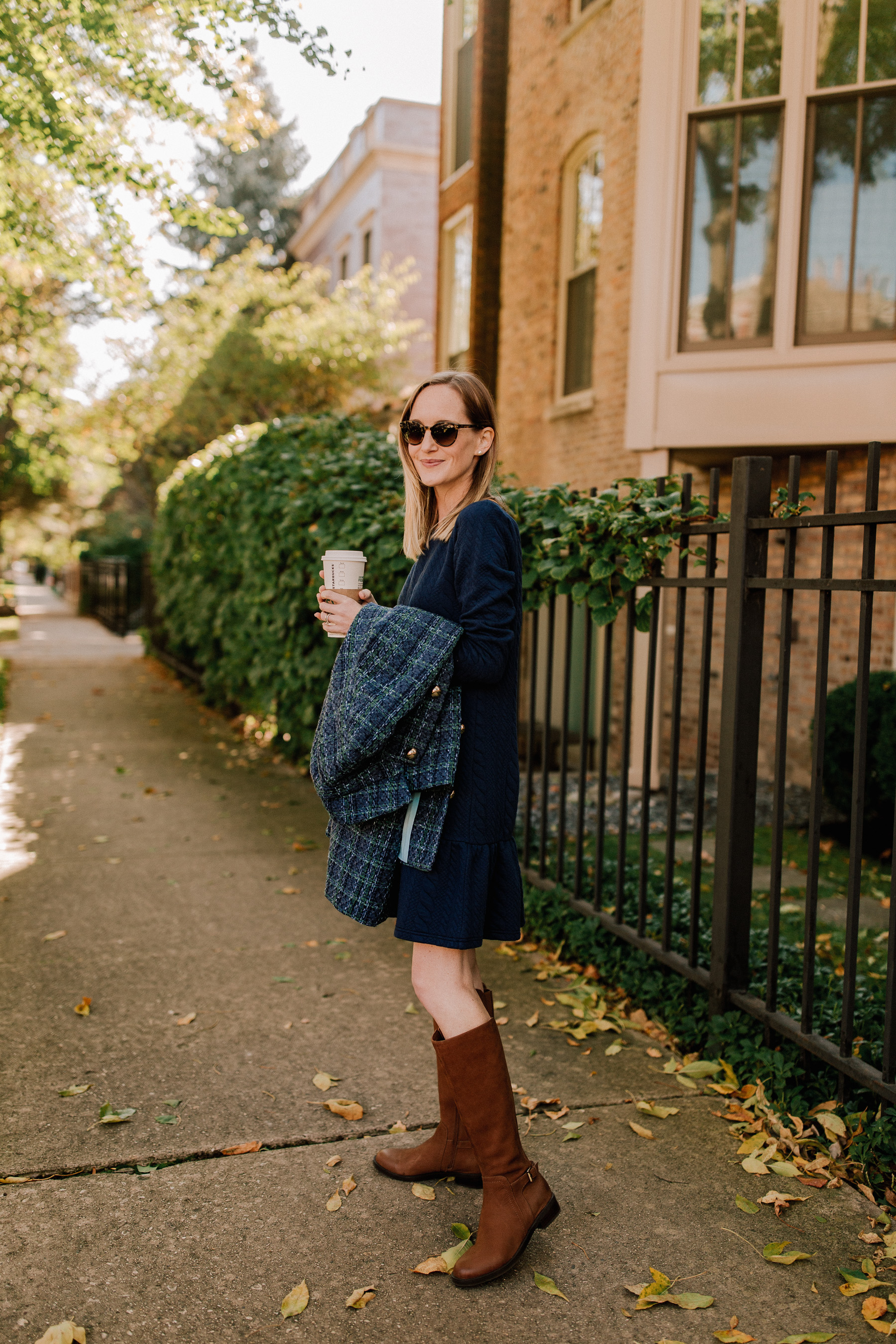 Sail to Sable Navy Tweed Coat and Navy Cable-Knit Dress c/o / Waterproof Leather Boots