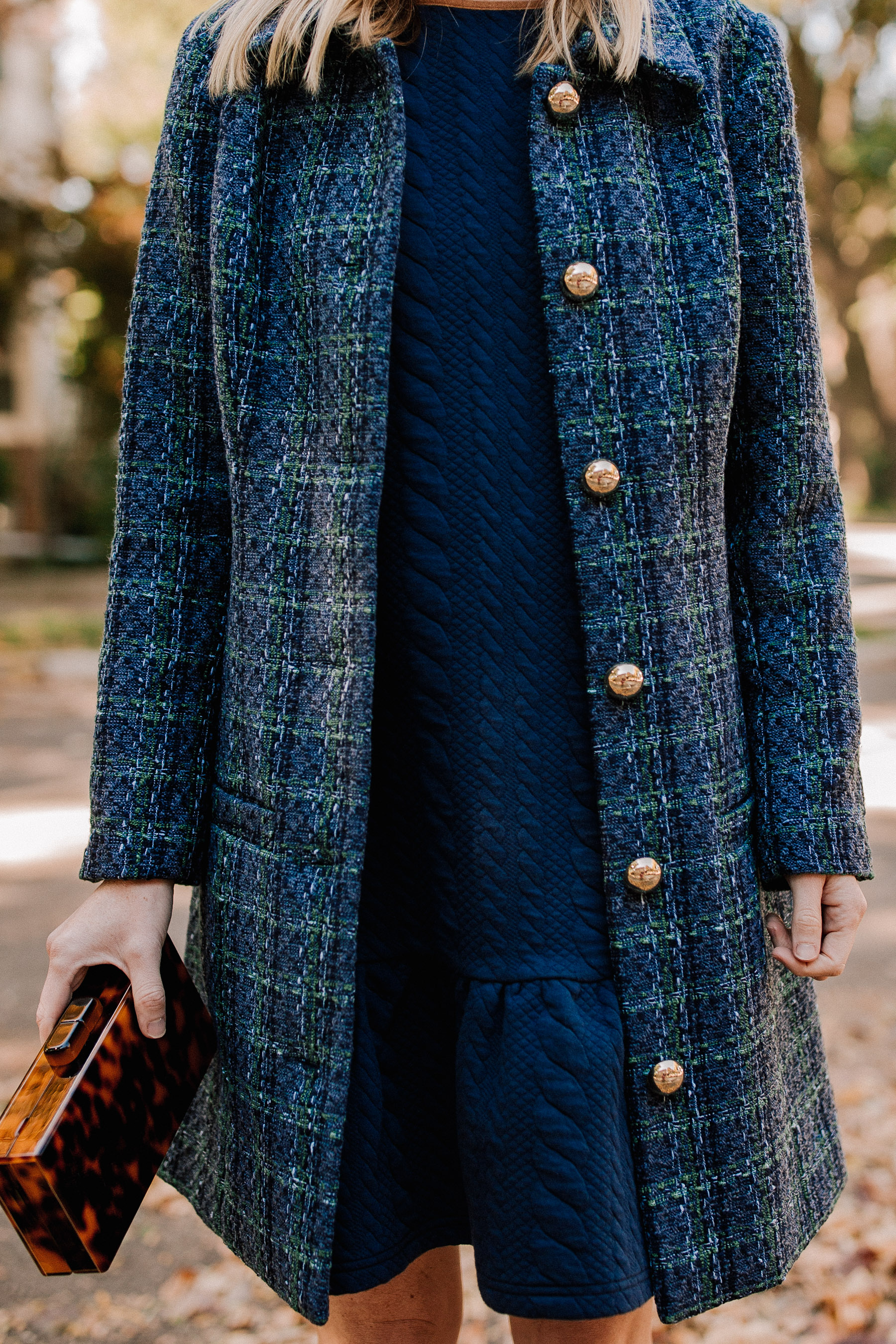 Sail to Sable Navy Tweed Coat and Navy Cable-Knit Dress