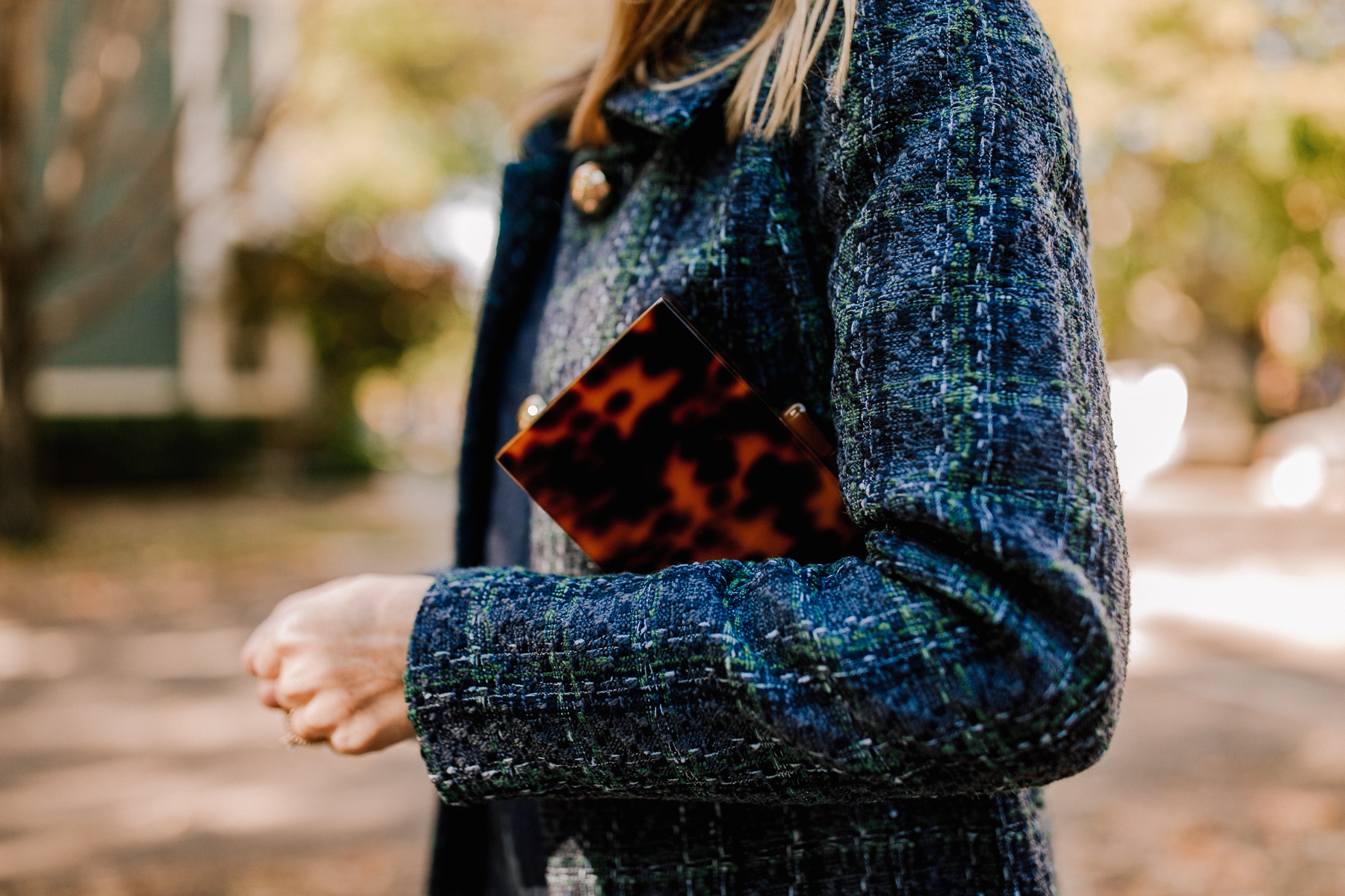 Sail to Sable Navy Tweed Coat - Tortoise Clutch
