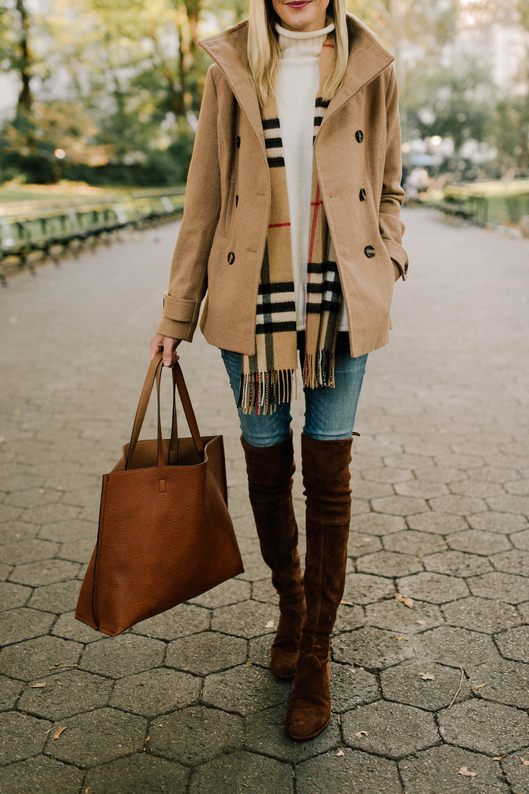 $38 Peacoat / Sweater / Burberry Scarf  / $49 Faux Leather Tote / Stuart Weitzman Boots / AG Jeans