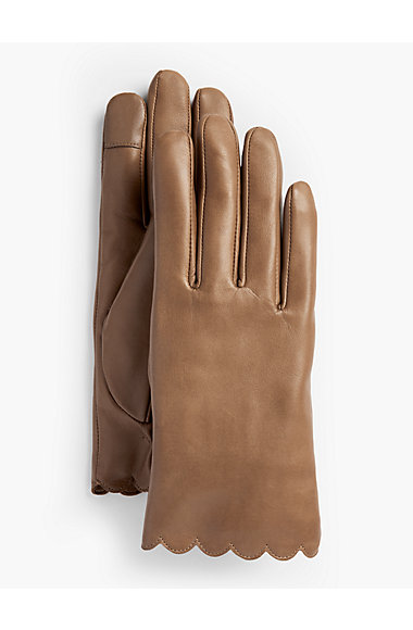 Talbots: Scalloped Leather Tech Gloves