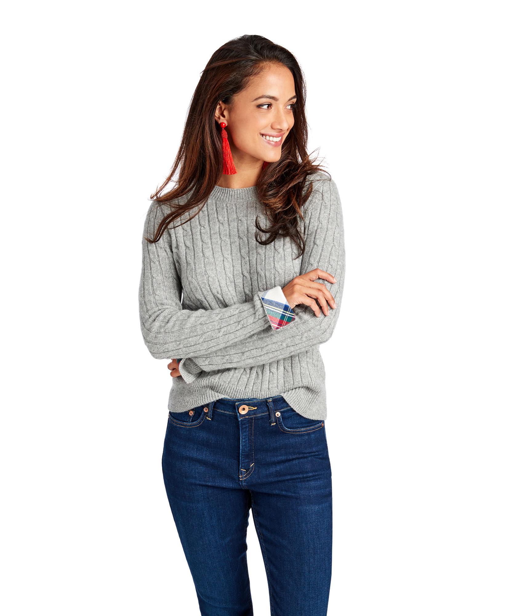 Vineyard Vines: Tartan Cuff Cable-Knit Sweater