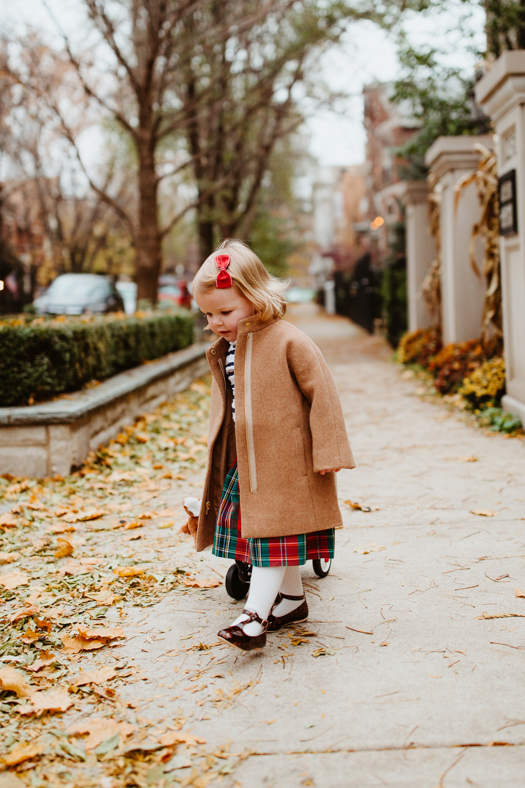 Emma's Outfit: Plaid Skirt, Toddler Cocoon Coat, Striped Turtleneck