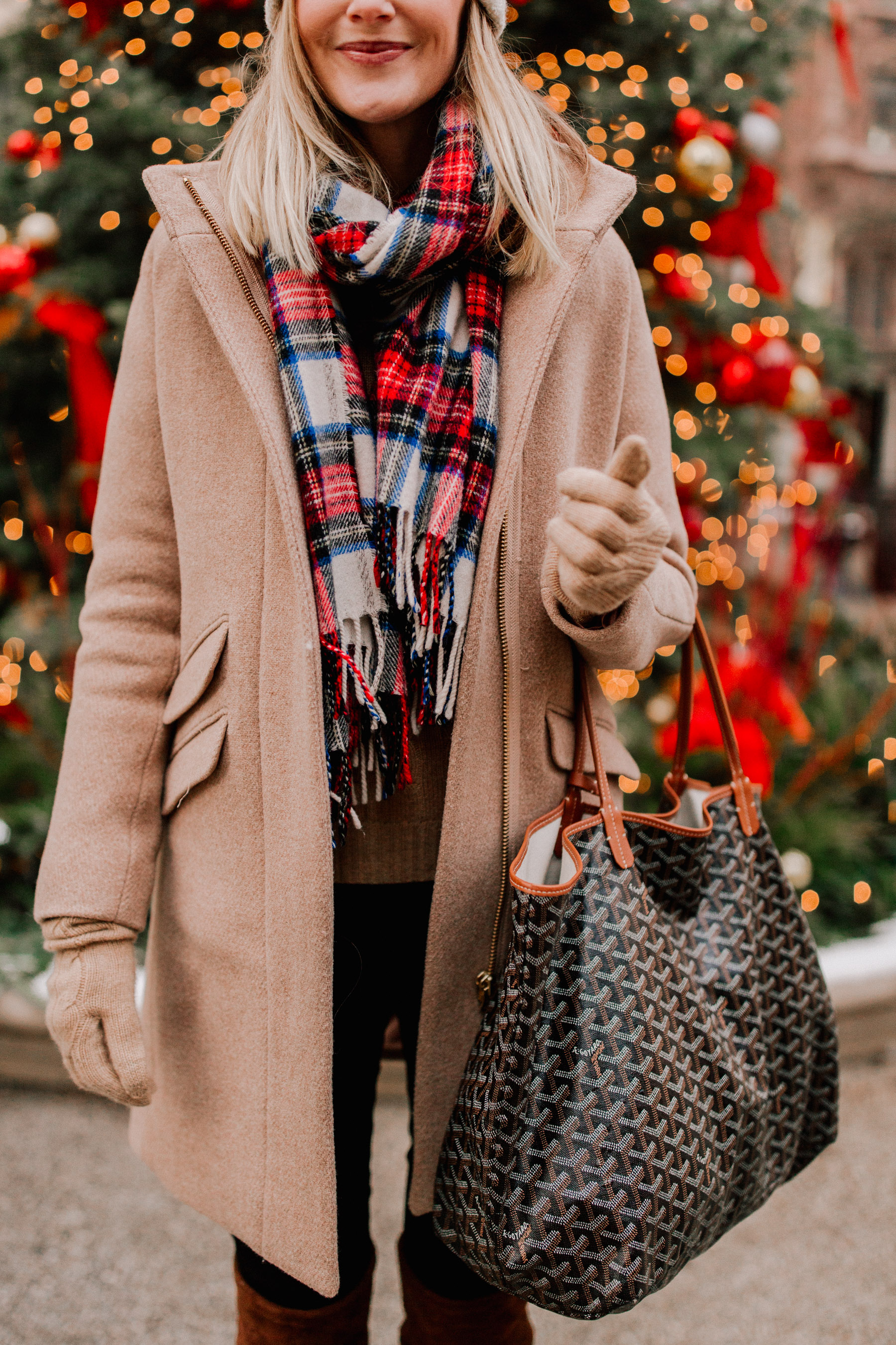 J.Crew Tartan Scarf / Cocoon Coat / Halogen Seamed Leggings / Pom Pom Hat / Goyard Bag