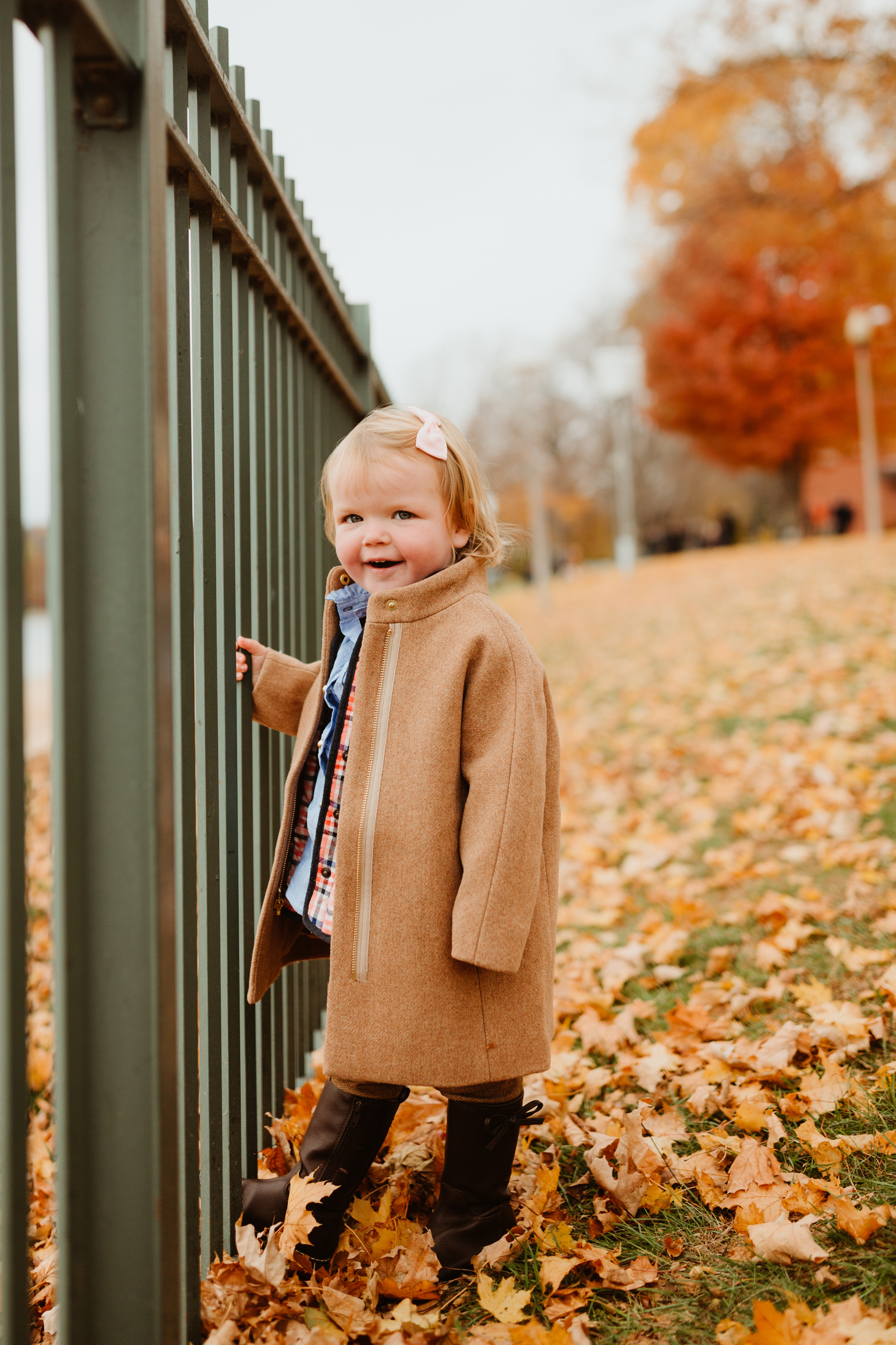 Emma: Bow Boots, Mini Cocoon Coat, Leggings, Button-Down and Plaid Vest