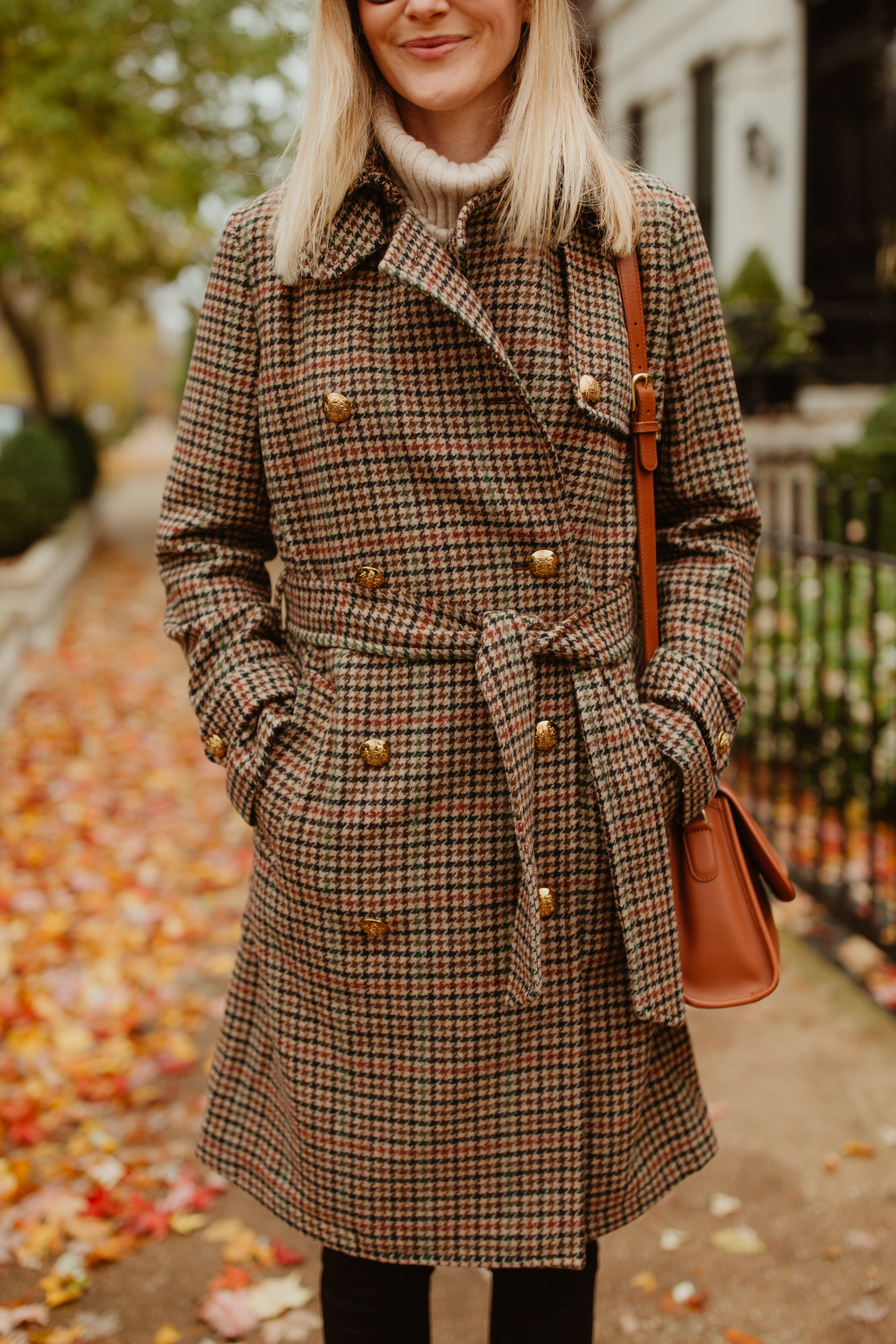 Lauren Ralph Lauren Houndstooth Wool Trench Coat