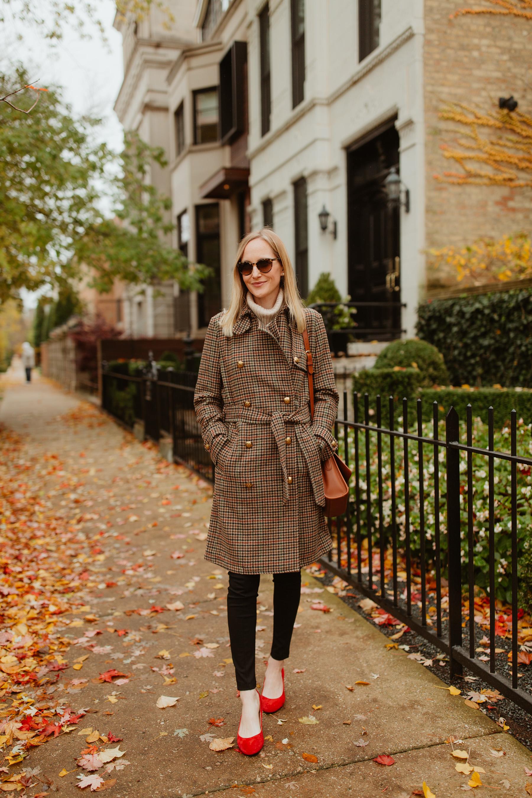 Lauren Ralph Lauren Houndstooth Wool Trench Coat - Kelly in the City