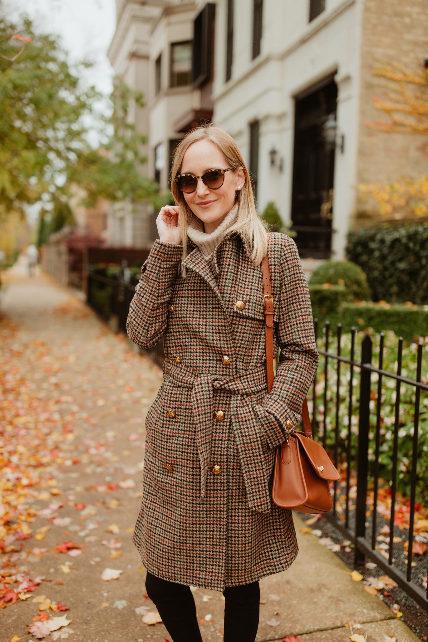 Lauren Ralph Lauren Houndstooth Wool Trench Coat