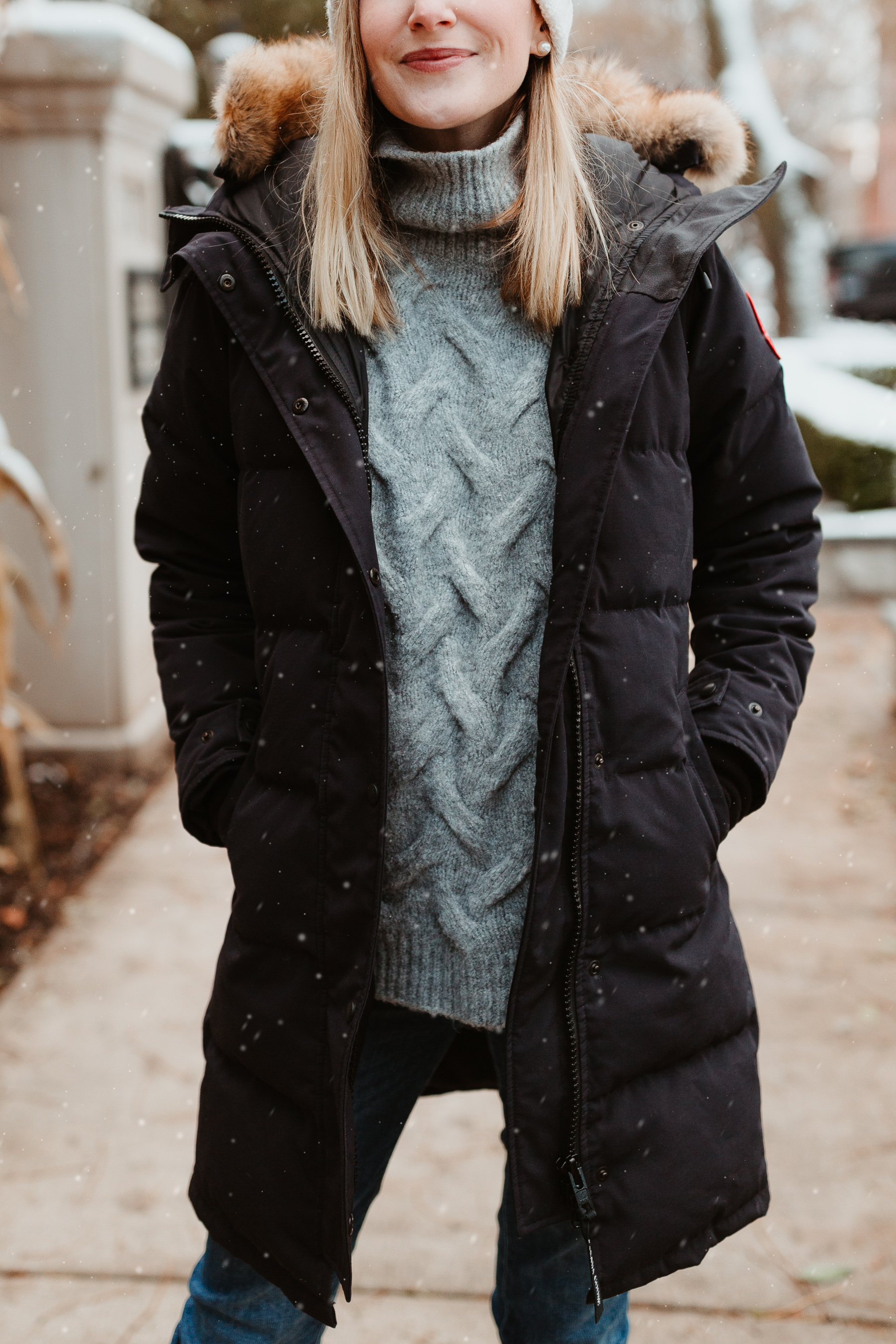 Kelly: Cable-Knit Sweater, Navy Down Parka, DL1961 Jeans