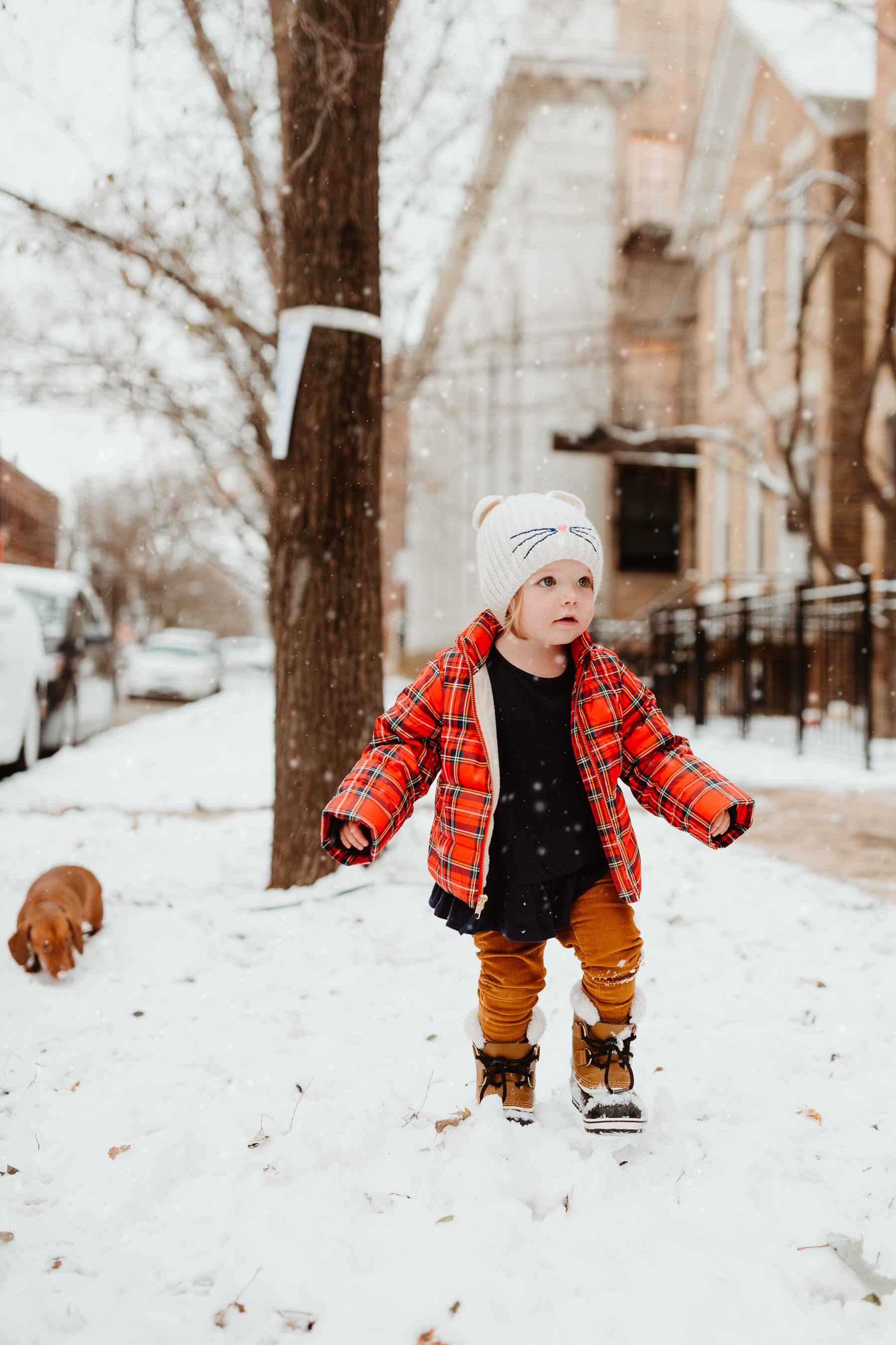 Emma: Toddler Sorel Snow Boots and Plaid Coat