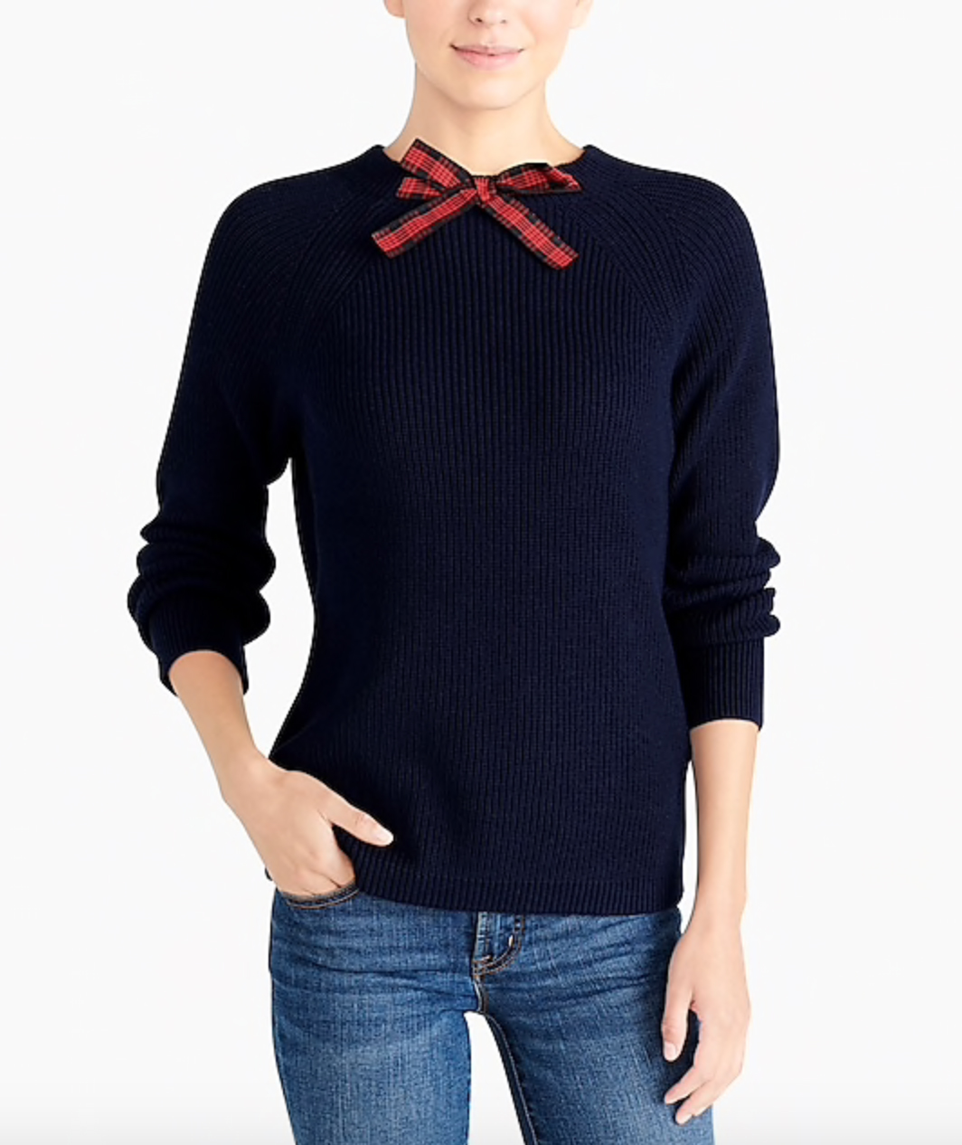 J.Crew Factory: Tartan Bow Sweater (Comes in solids, too.)