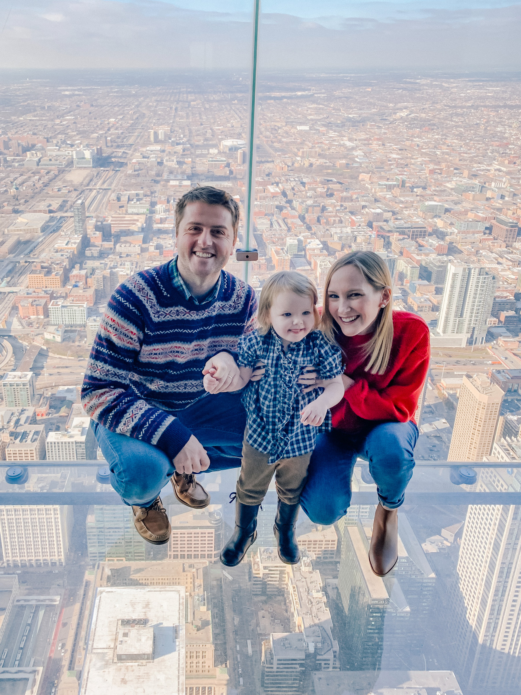 Meeting Santa on the Willis Tower Skydeck - Lakin Family