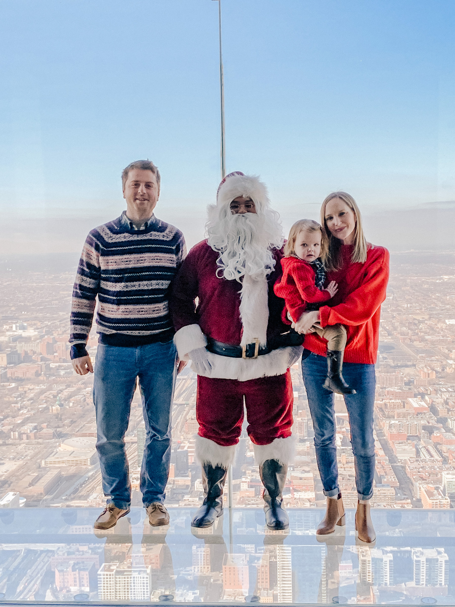Meeting Santa on the Willis Tower Skydeck - Larkin Family