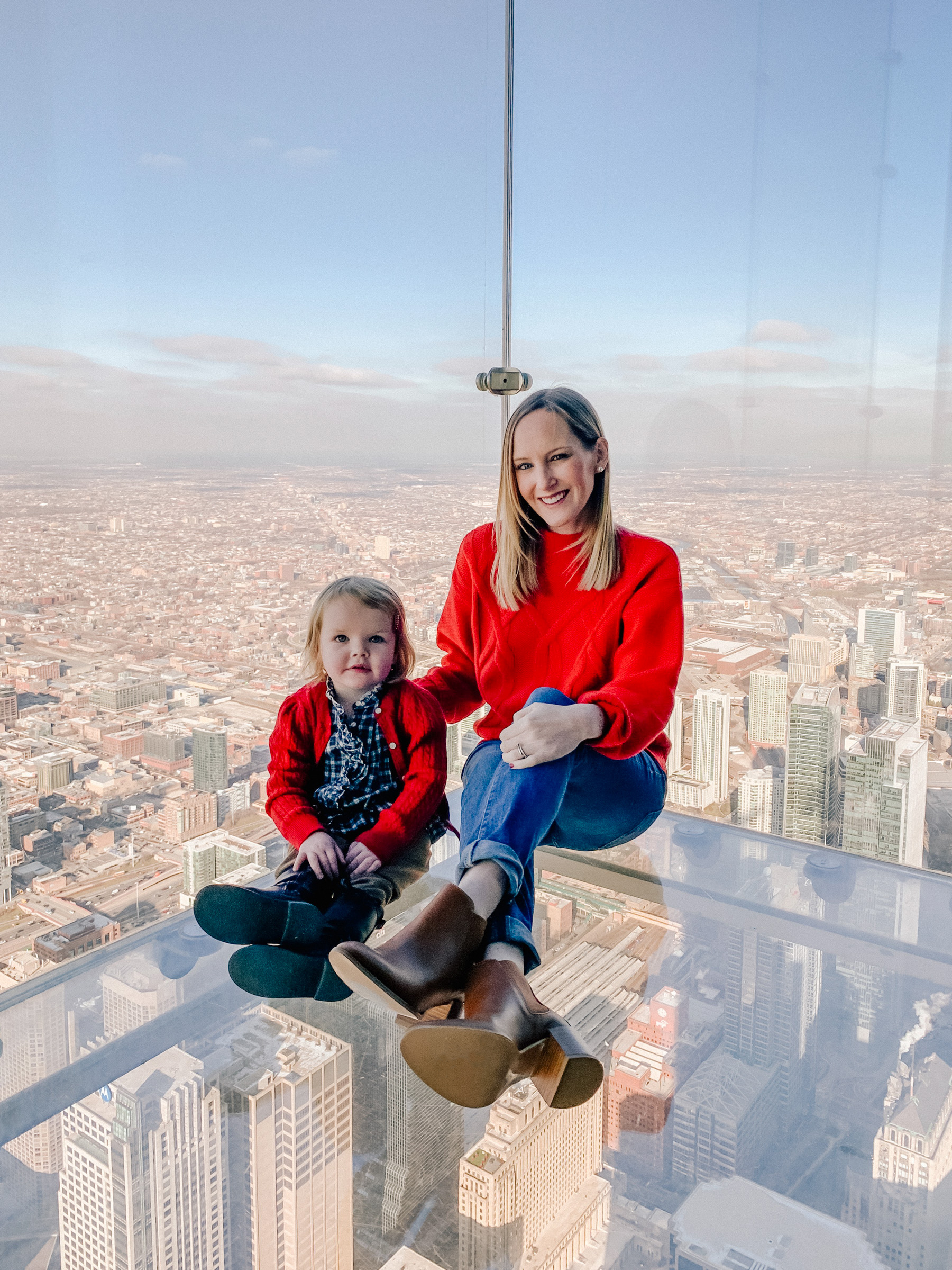 Kelly Larkin and Emma Larkin at  Willis Tower Skydeck
