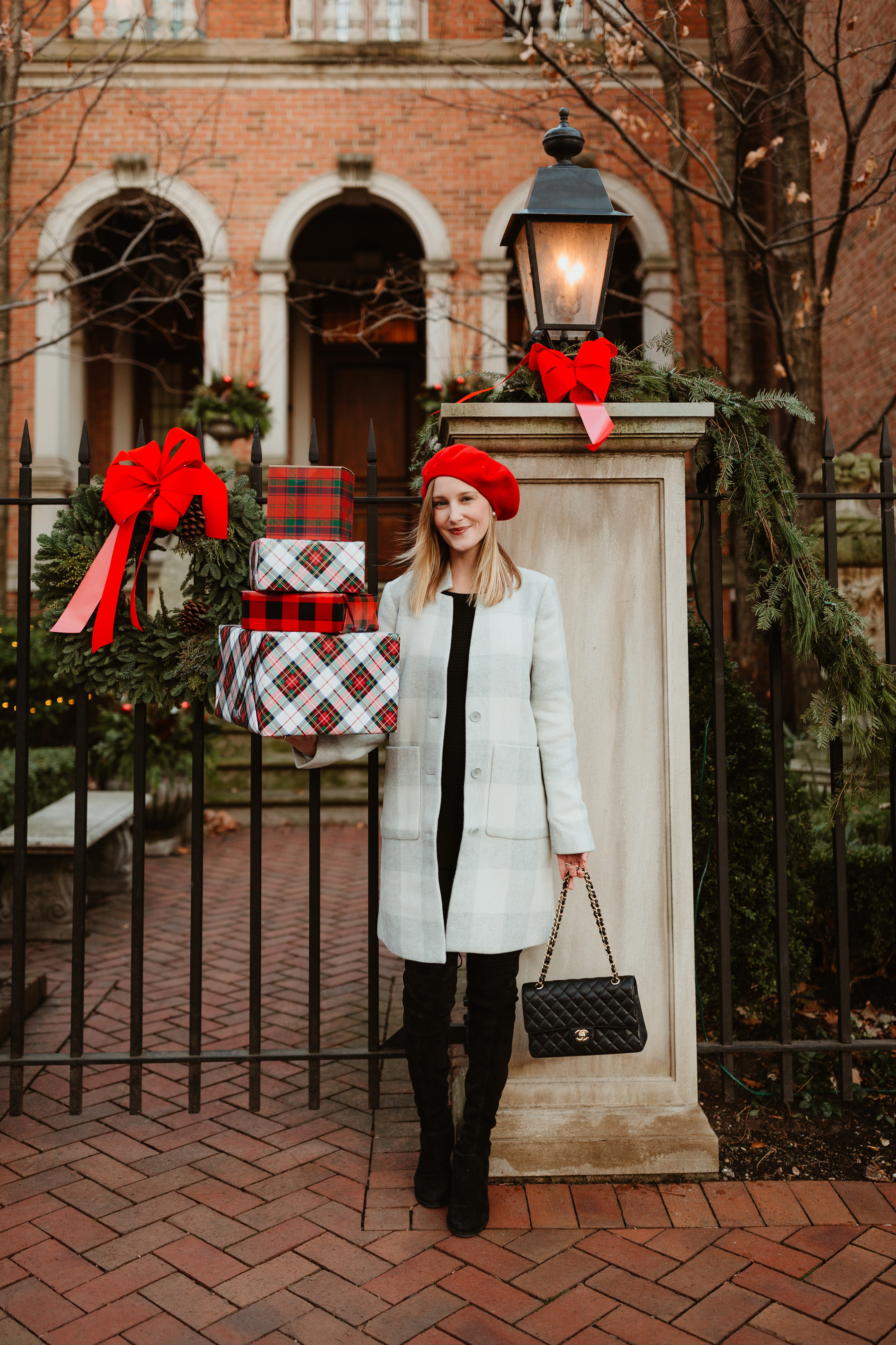 """Eileen Fisher Buffalo Check Car Coat / Red Beret/ Stuart Weitzman """"Lowland"""" Boots  / J.Brand Maternity Jeans / Black Cashmere Sweater - Kelly in the City"""