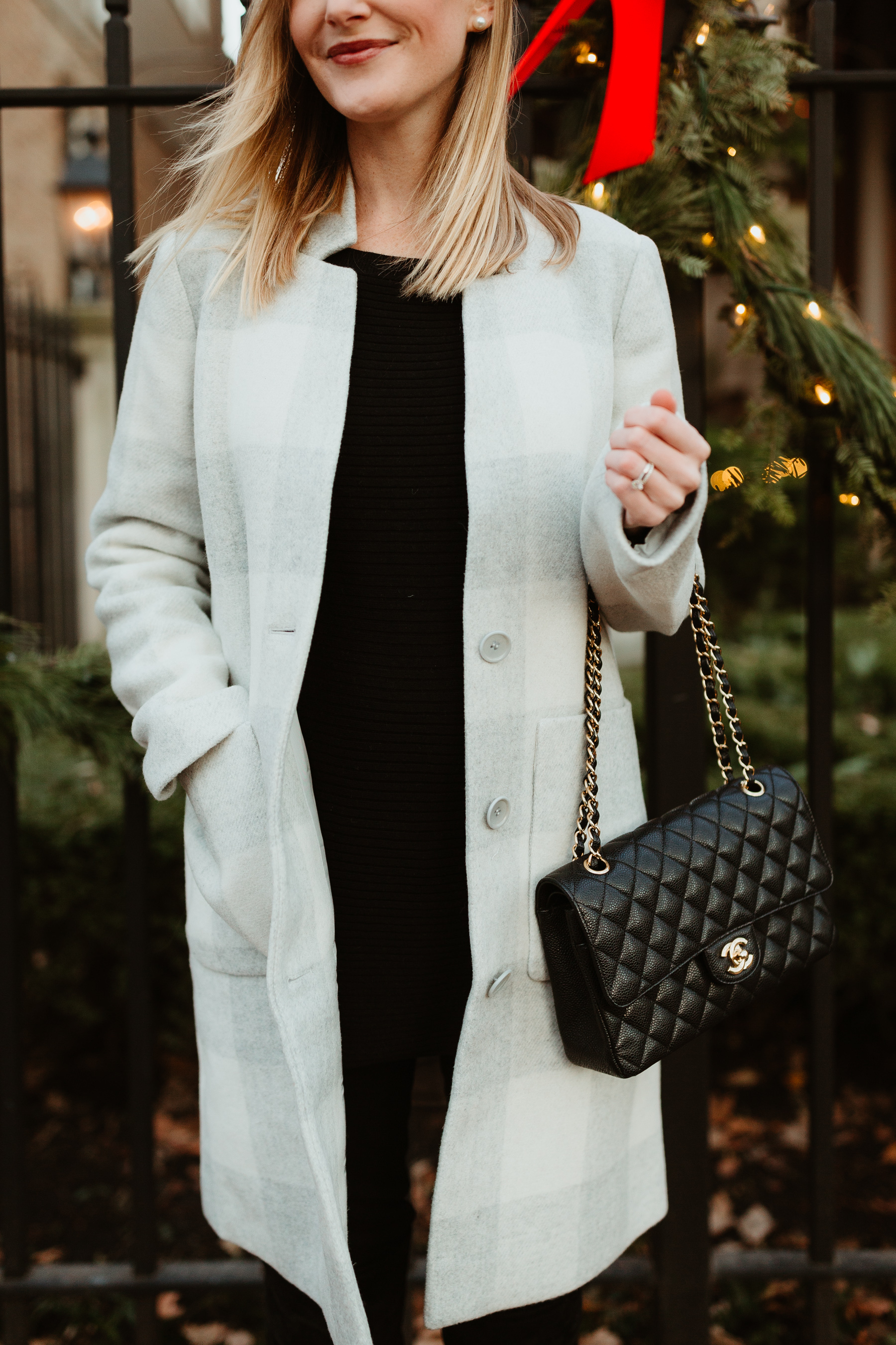 Eileen Fisher Buffalo Check Car Coat / Red Beret/ J.Brand Maternity Jeans / Black Cashmere Sweater