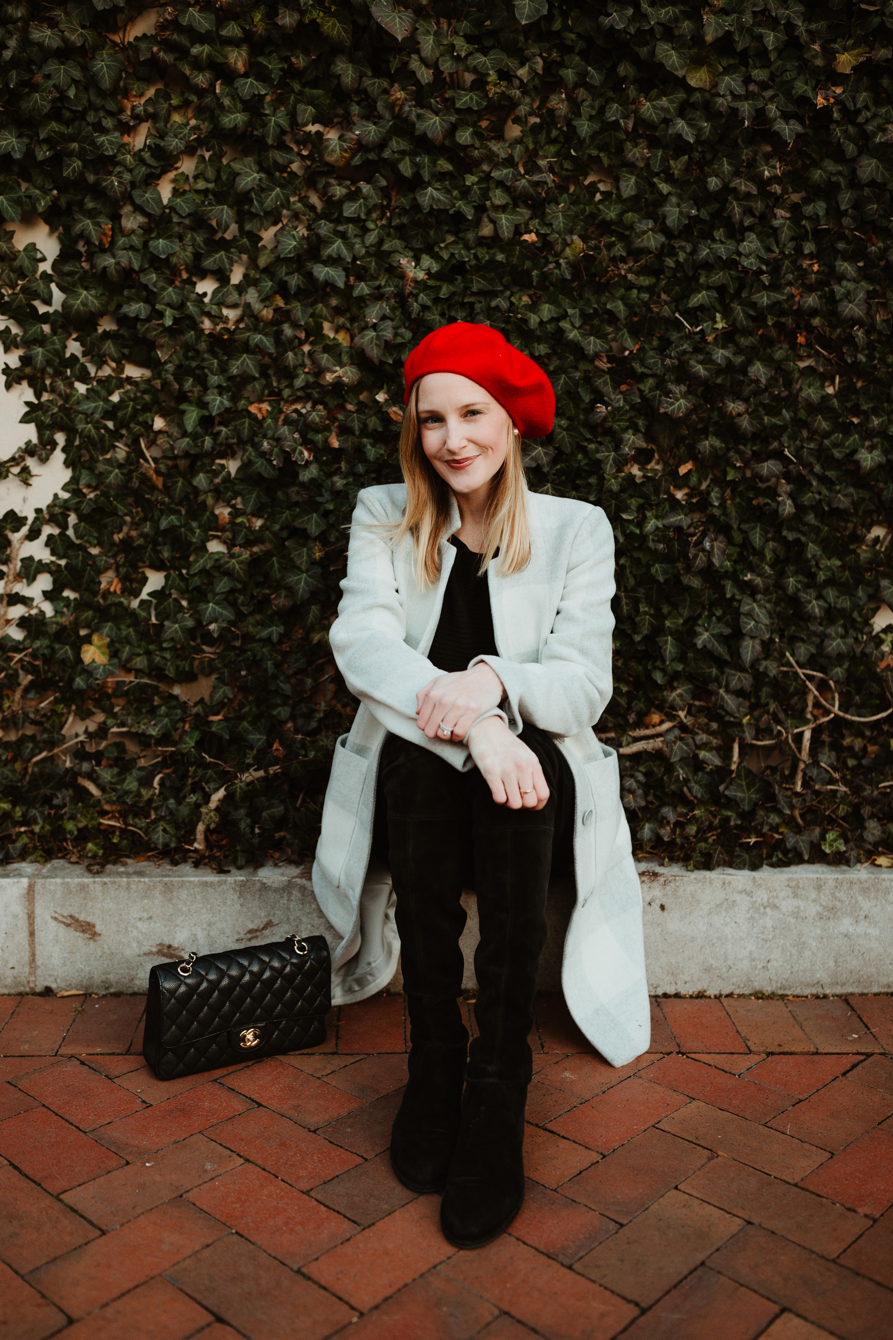 """Kelly in the City - Eileen Fisher Buffalo Check Car Coat / Red Beret/ Stuart Weitzman """"Lowland"""" Boots  / J.Brand Maternity Jeans / Black Cashmere Sweater"""
