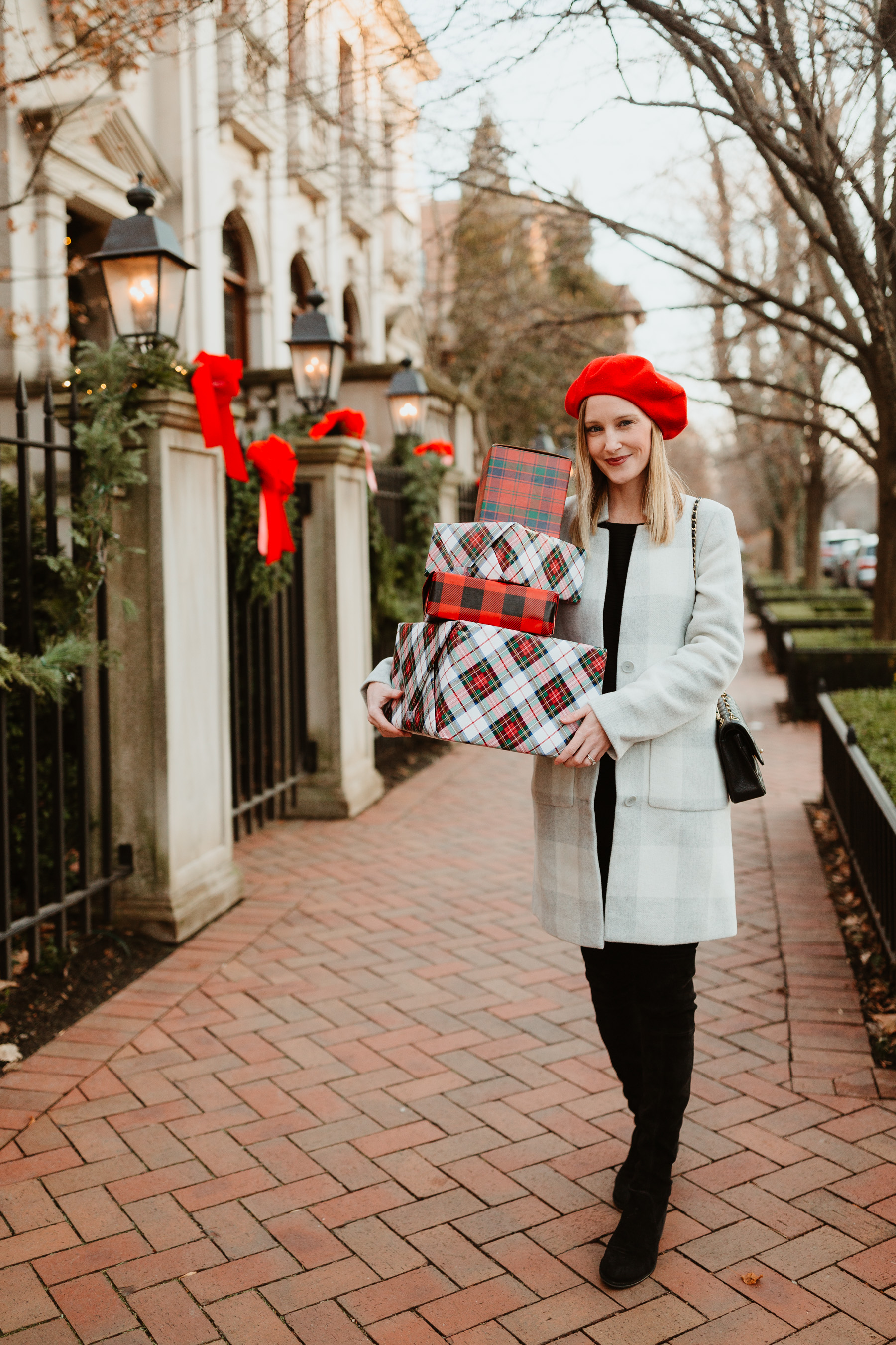 """Kelly Larkin is featuring a Eileen Fisher Buffalo Check Car Coat / Red Beret/ Stuart Weitzman """"Lowland"""" Boots  / J.Brand Maternity Jeans / Black Cashmere Sweater"""